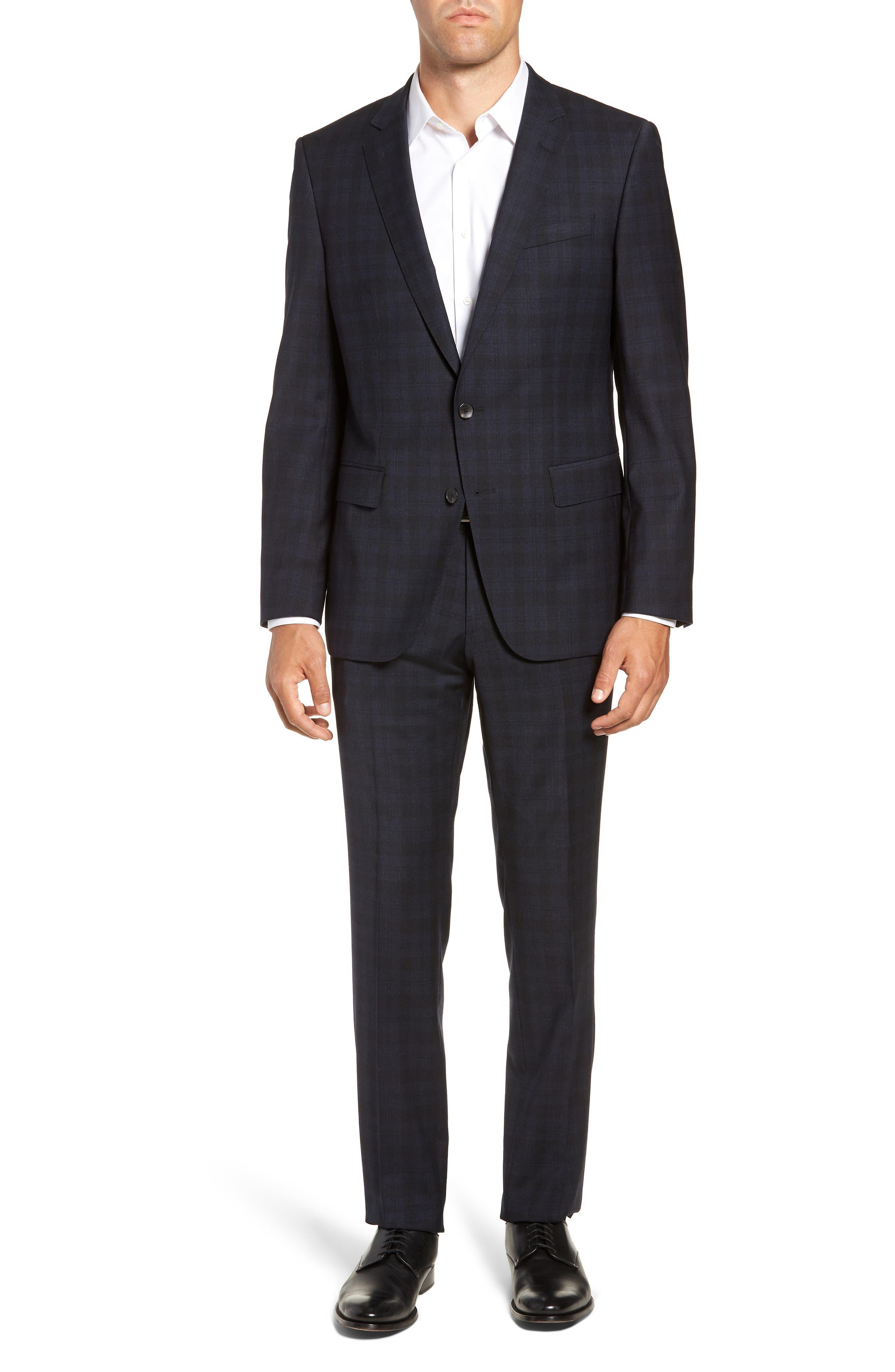 Huge/Genius Trim Fit Stretch Plaid Wool Suit,                         Main,                         color, BLUE