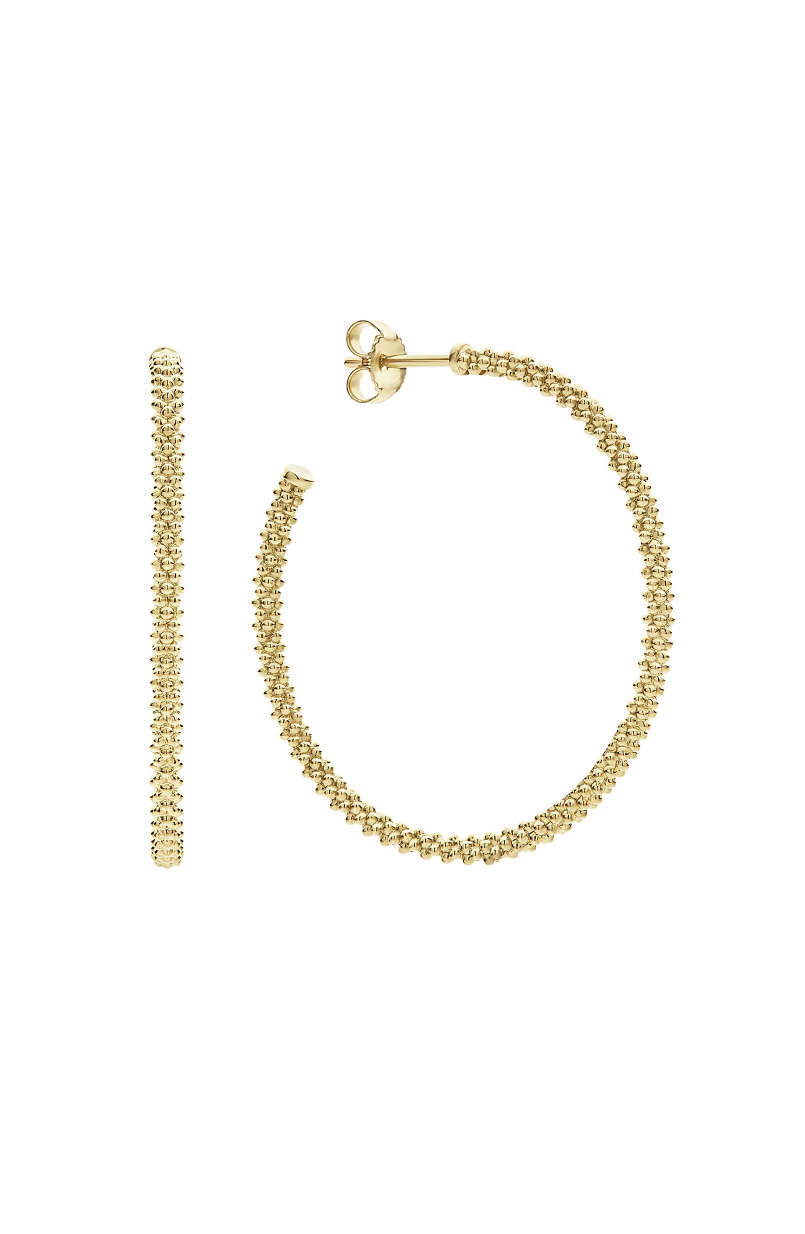 Caviar Hoop Earrings,                             Alternate thumbnail 2, color,                             GOLD