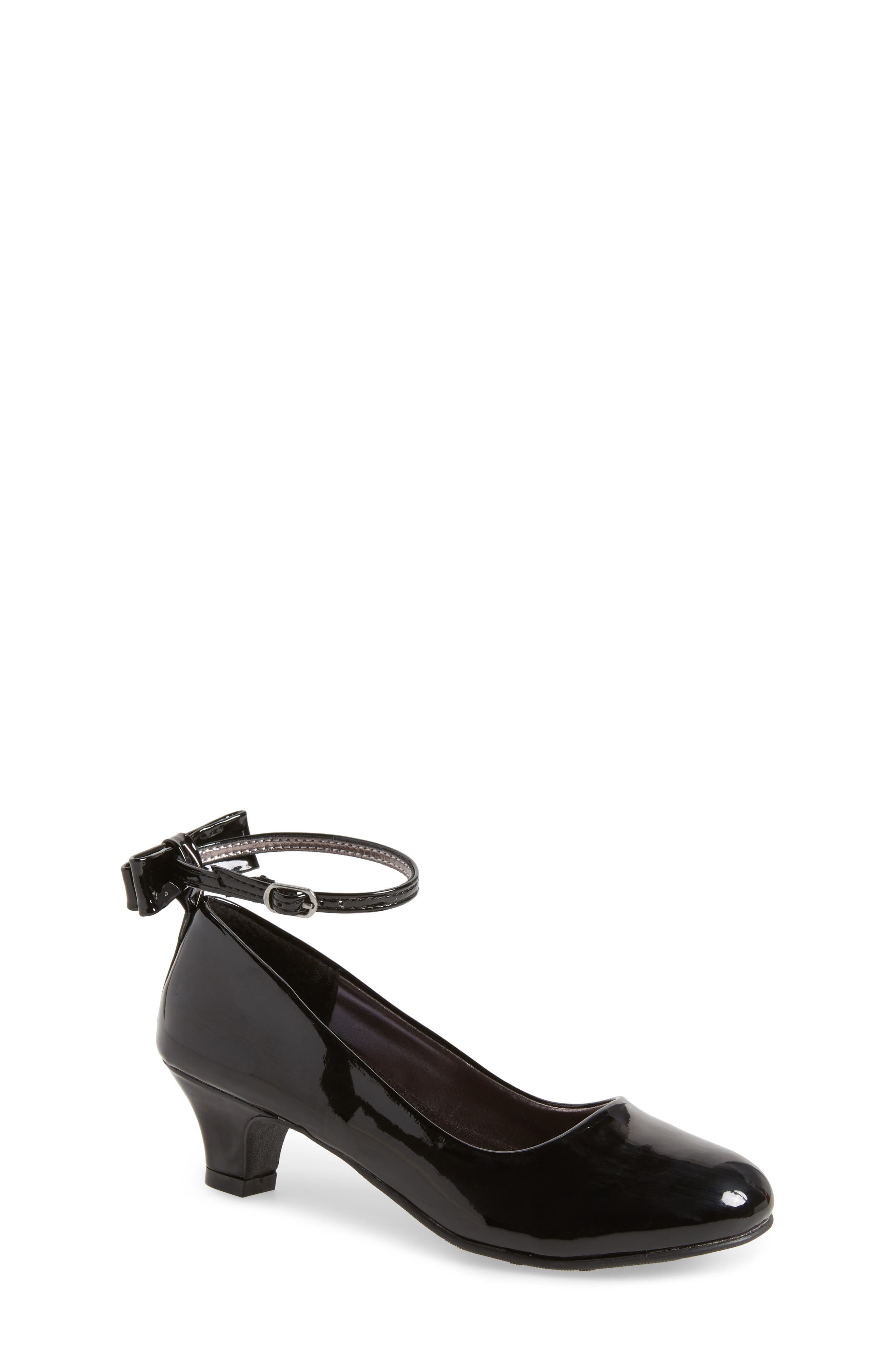 Jbeckyy Ankle Strap Bow Pump,                         Main,                         color, 017