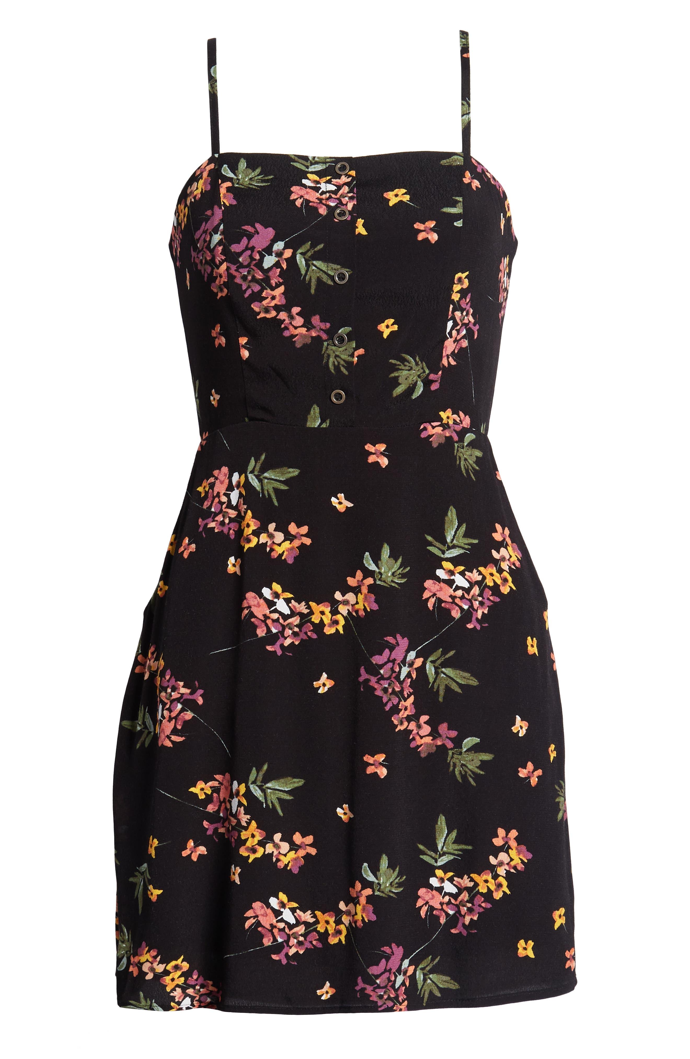 Floral Tie Back Minidress,                             Alternate thumbnail 7, color,                             001