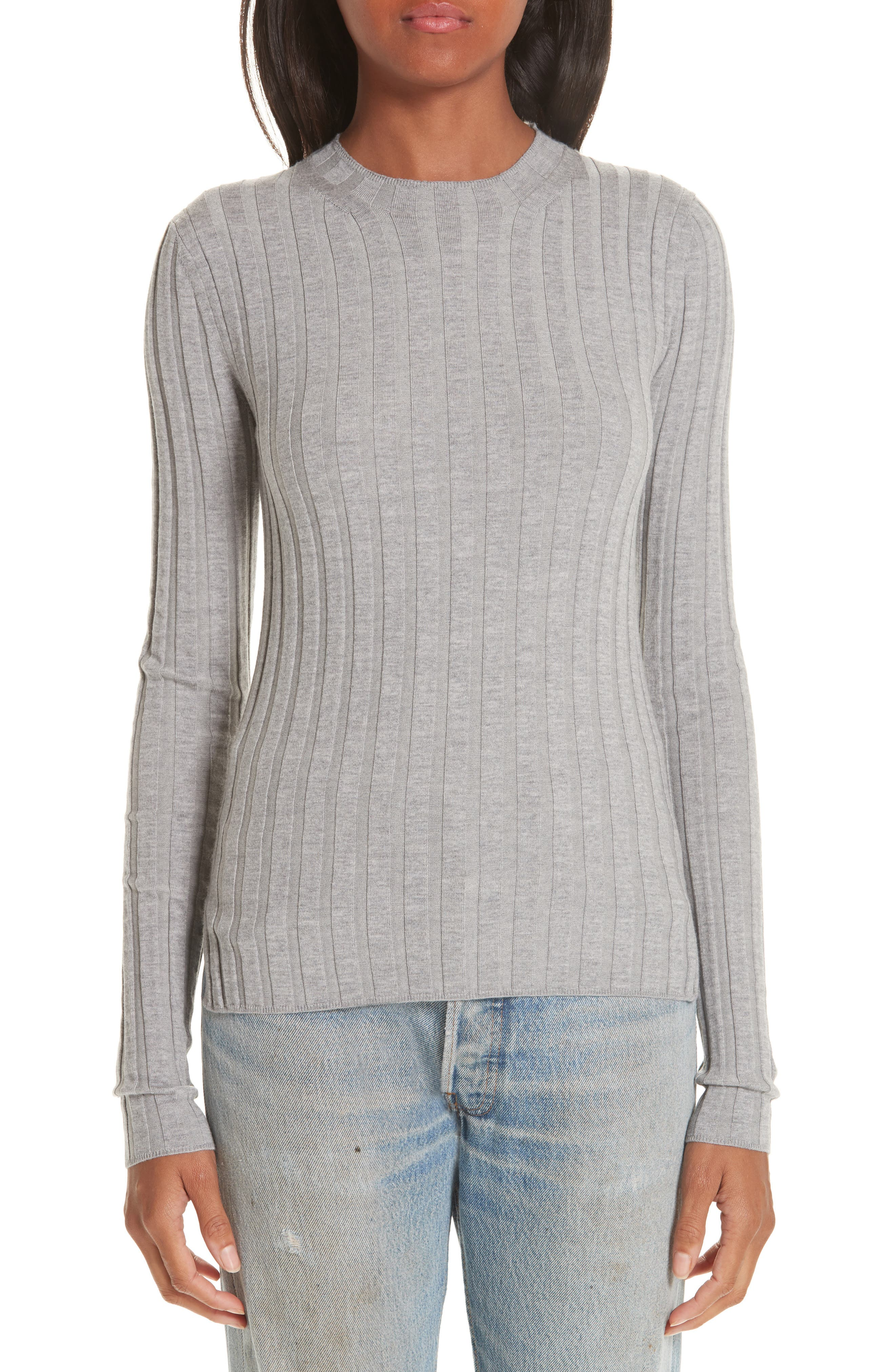 Carina Fitted Crewneck Sweater,                         Main,                         color, SILVER GREY