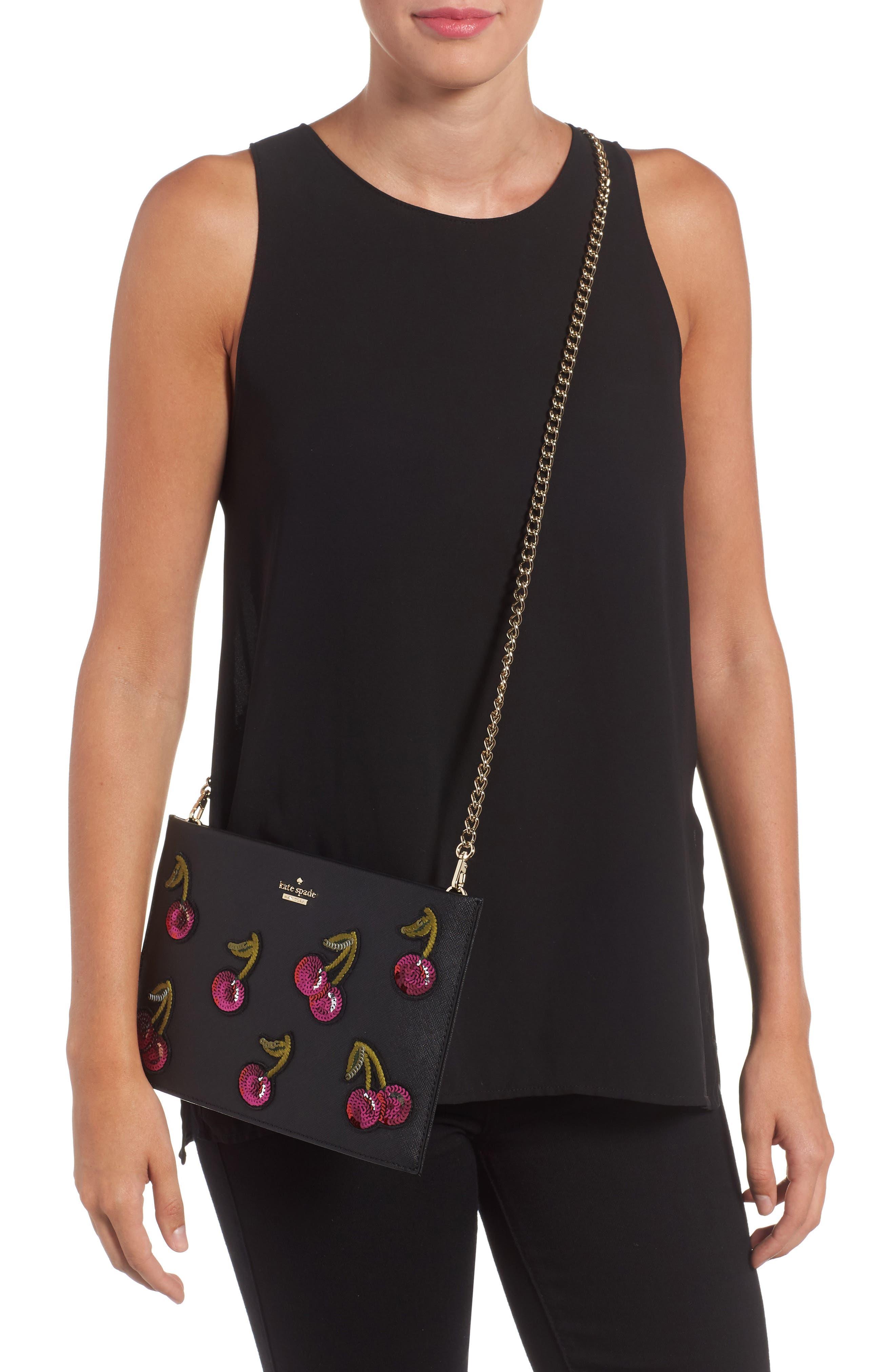 ma cherie - cherries sima leather shoulder bag,                             Alternate thumbnail 2, color,                             001