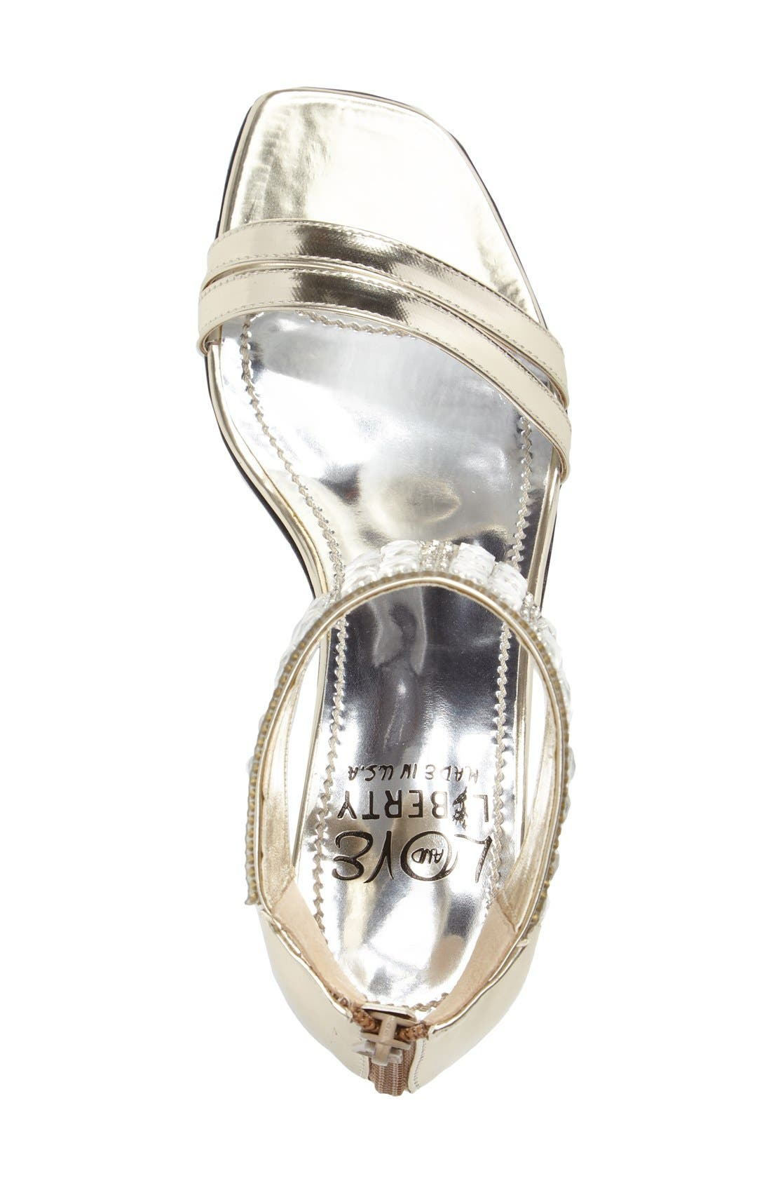 LOVE AND LIBERTY,                             Scarlett Crystal Embellished Evening Sandal,                             Alternate thumbnail 5, color,                             PLATINUM FAUX LEATHER