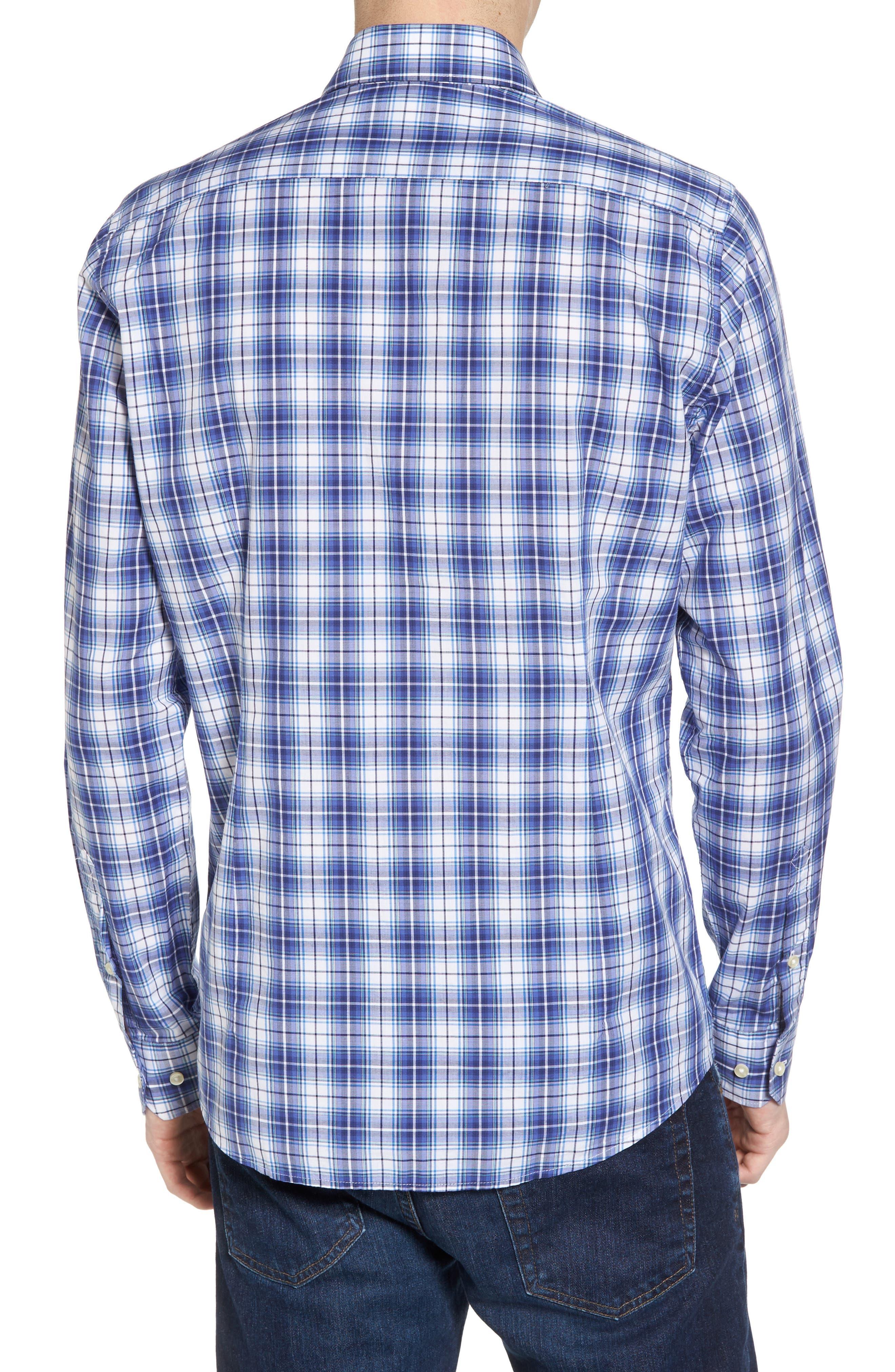 Leo Trim Fit Plaid Sport Shirt,                             Alternate thumbnail 2, color,                             420