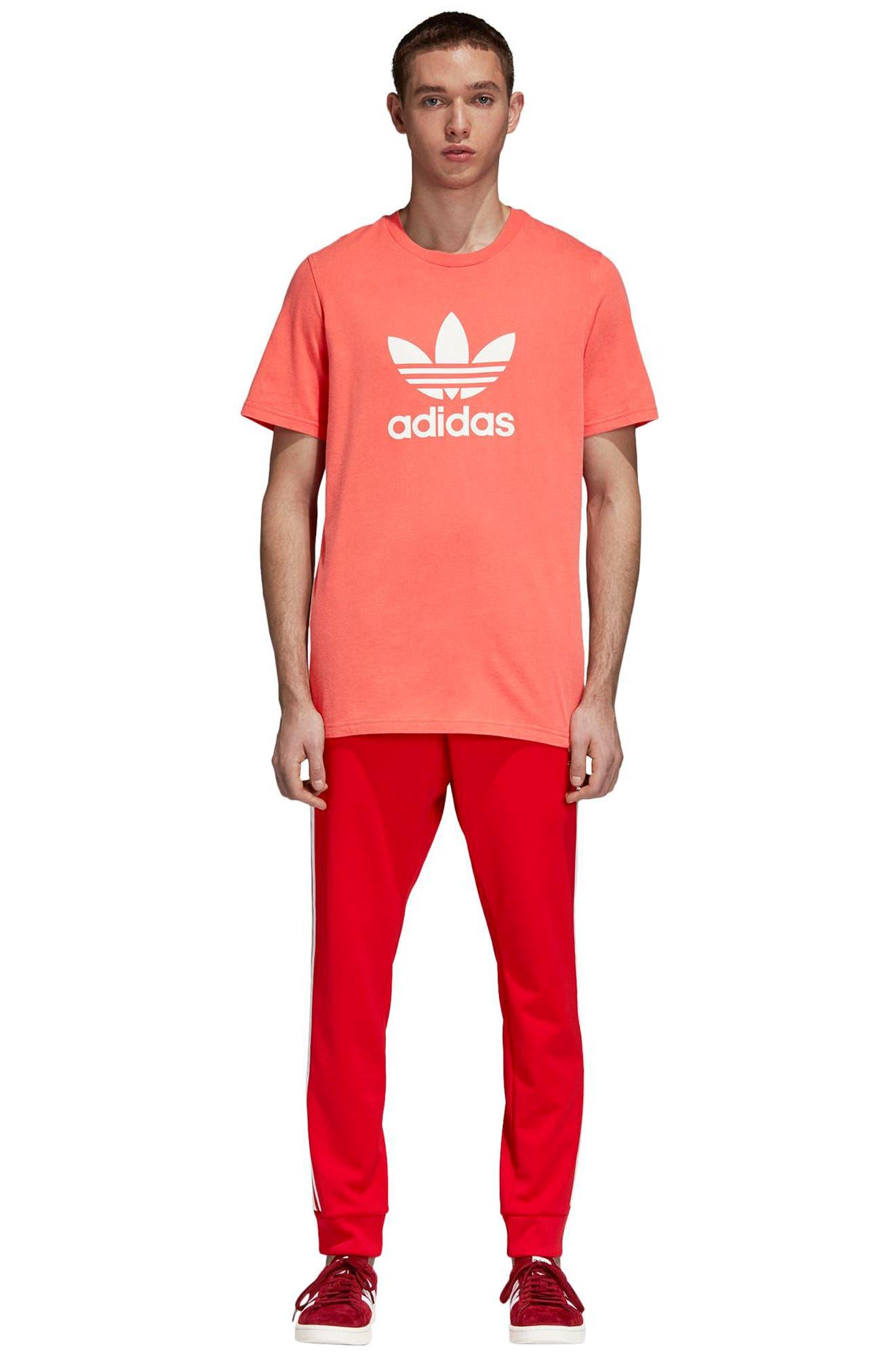 Trefoil Graphic T-Shirt,                             Alternate thumbnail 5, color,                             BRIGHT RED