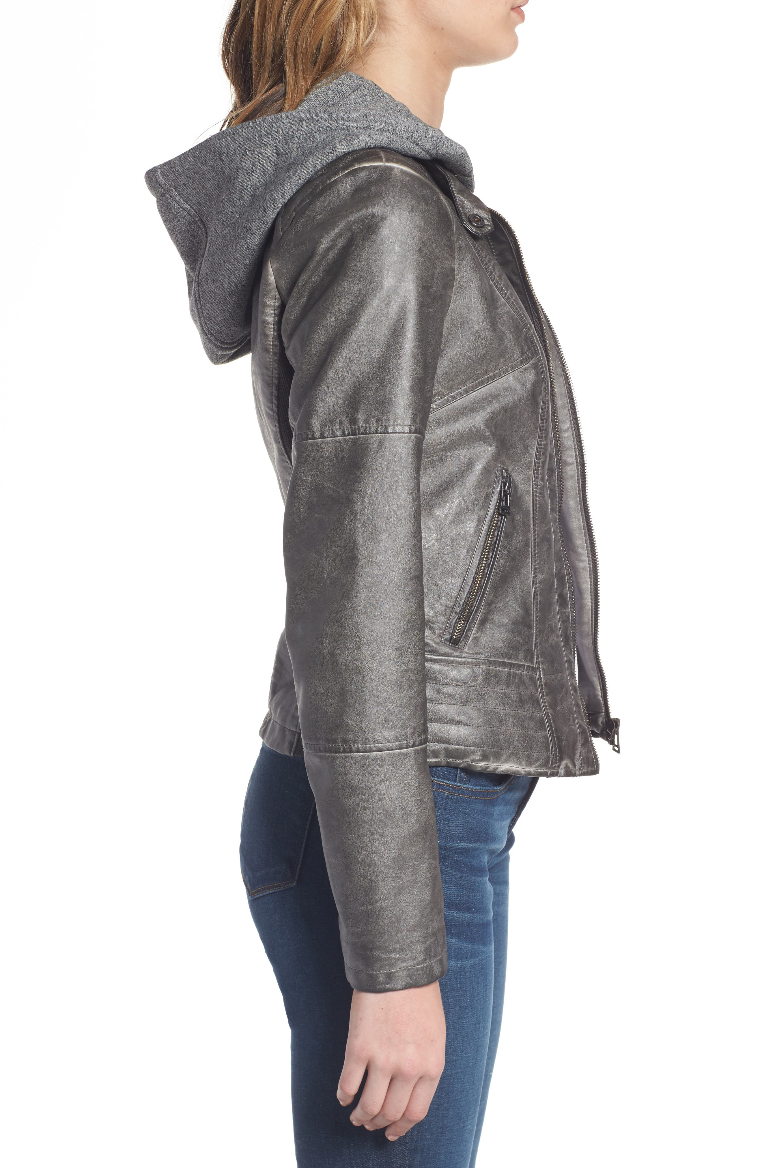 Faux Leather Jacket with Detachable Jersey Hood,                             Alternate thumbnail 3, color,                             020