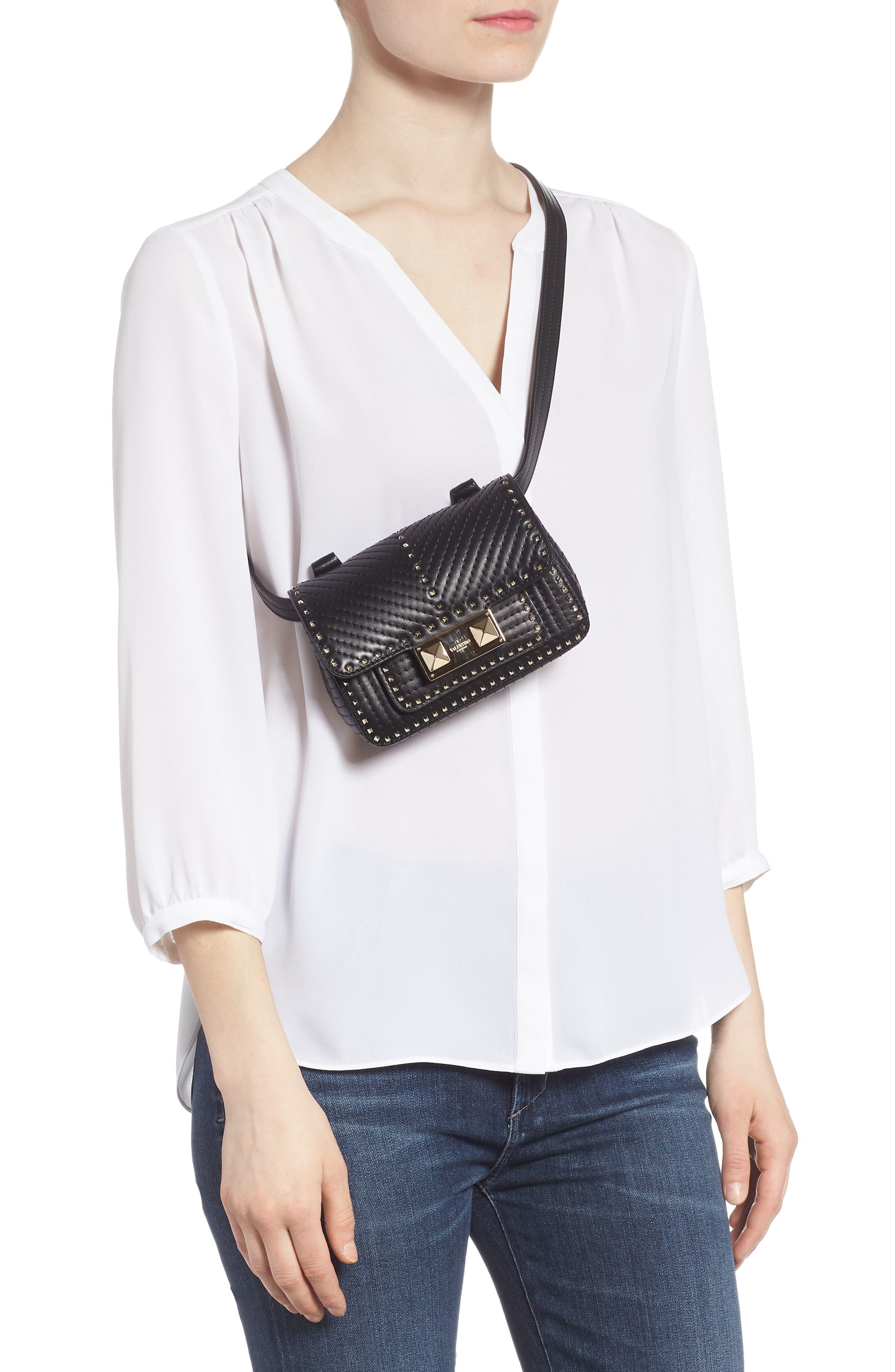 Mini Ziggystud Leather Convertible Crossbody/Belt Bag,                             Alternate thumbnail 3, color,                             001
