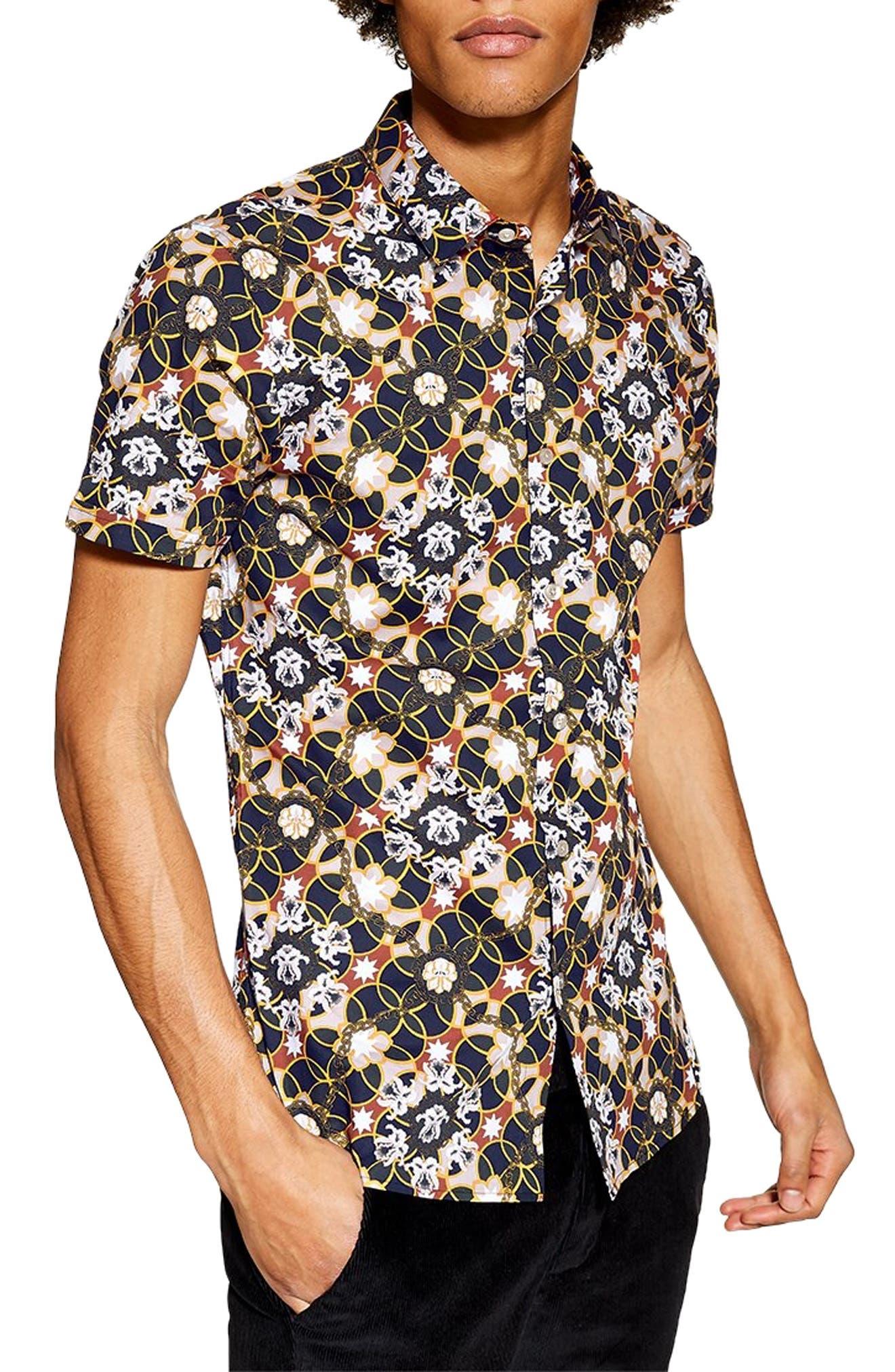 Star Floral Skinny Smart Woven Shirt,                             Main thumbnail 1, color,                             BLUE MULTI