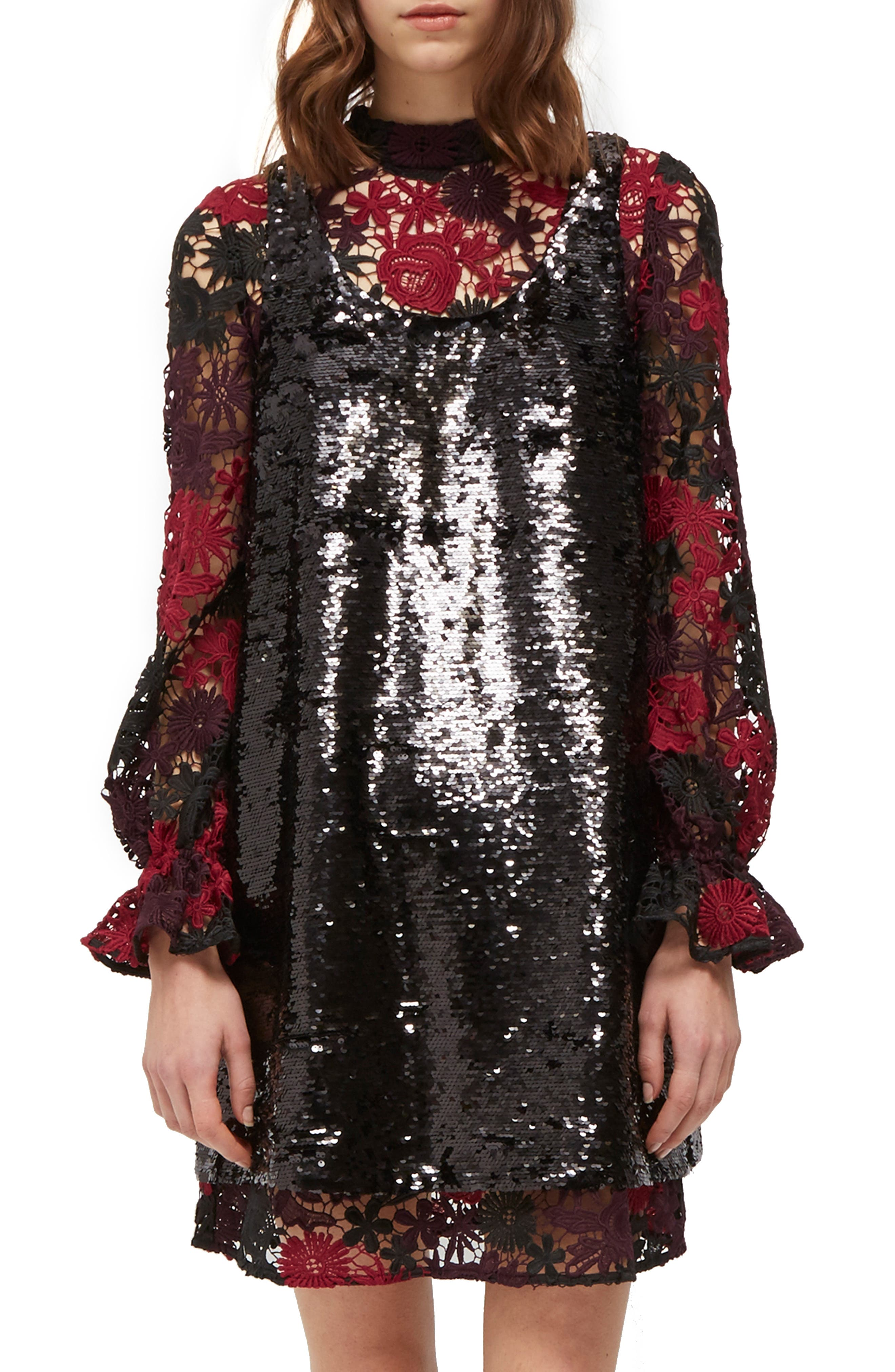 French Connection Cynthia Sequin & Lace Shift Dress, Black