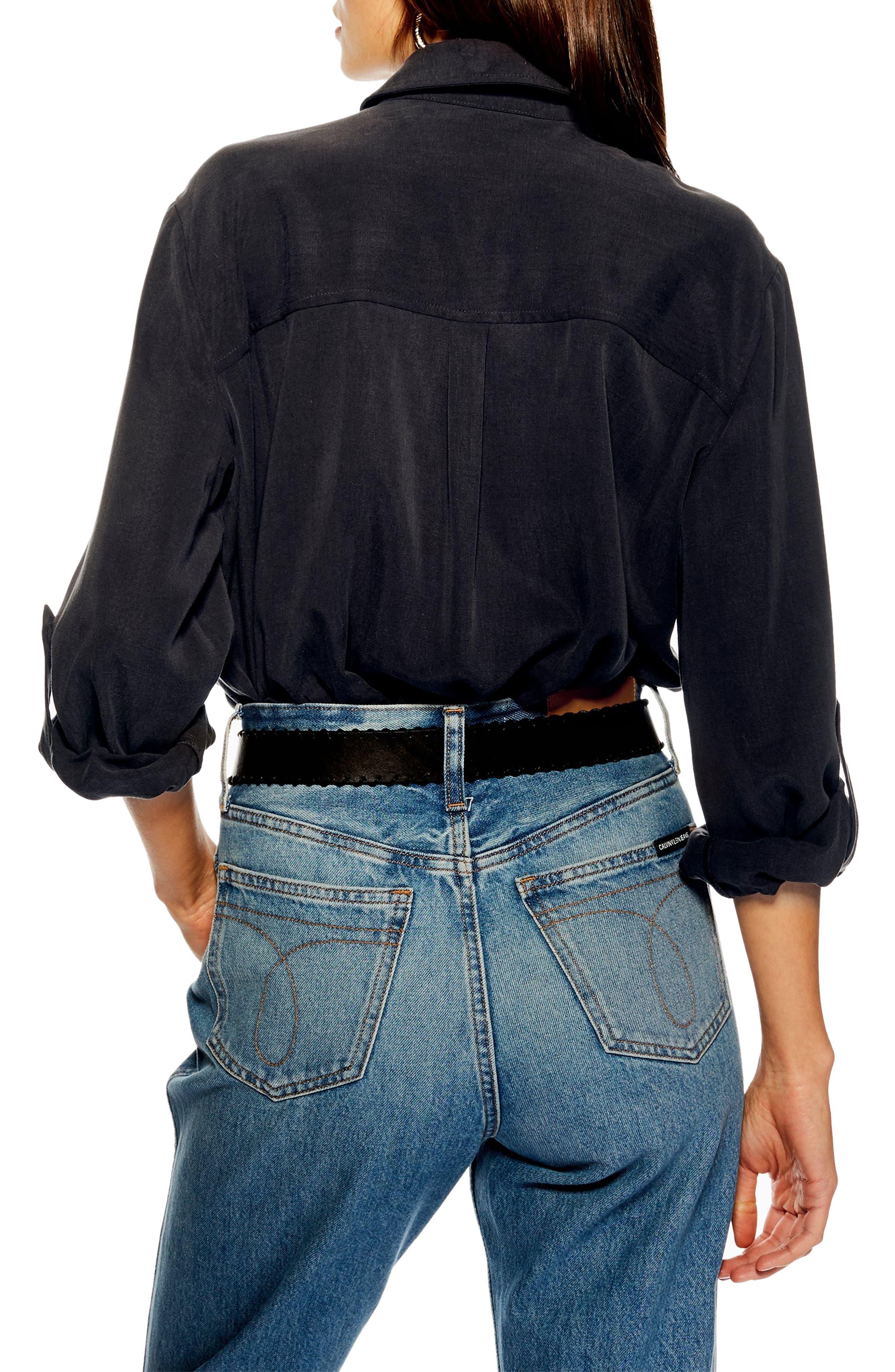 TOPSHOP,                             Double Pocket Utility Shirt,                             Alternate thumbnail 2, color,                             WASHED BLACK
