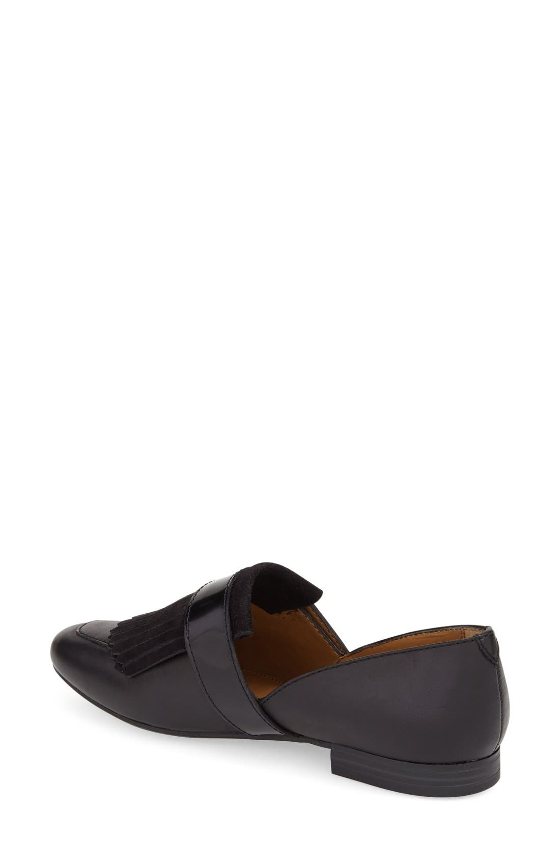 'Harlow' Kiltie Leather Loafer,                             Alternate thumbnail 2, color,                             BLACK LEATHER