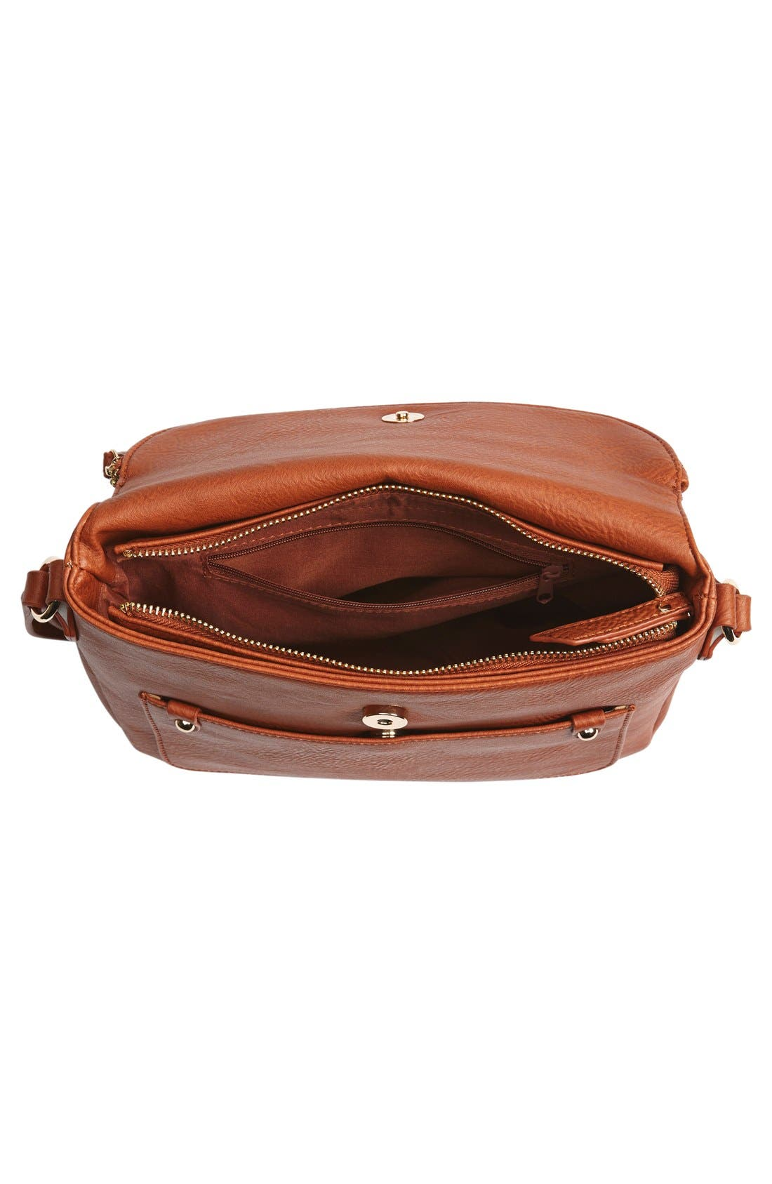 Zip Flap Faux Leather Crossbody Bag,                             Alternate thumbnail 8, color,
