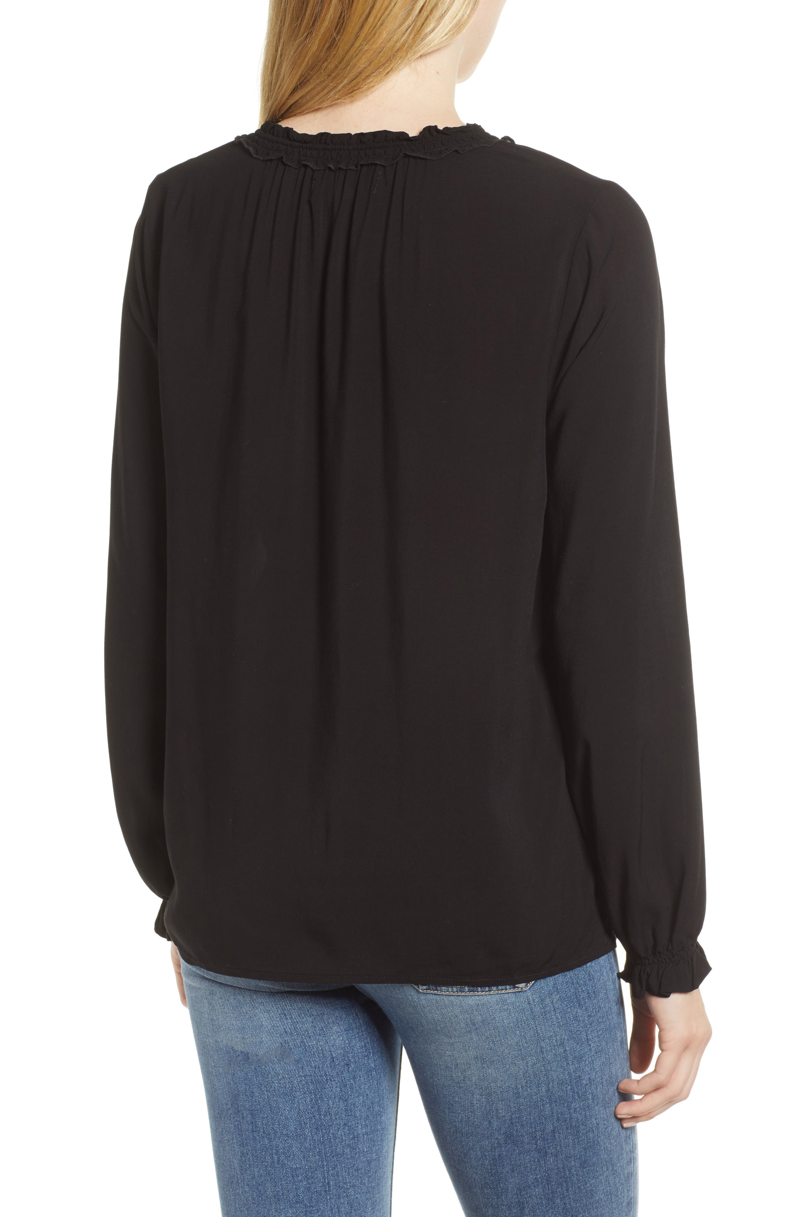 Ruffle Tie Neck Top,                             Alternate thumbnail 2, color,                             001