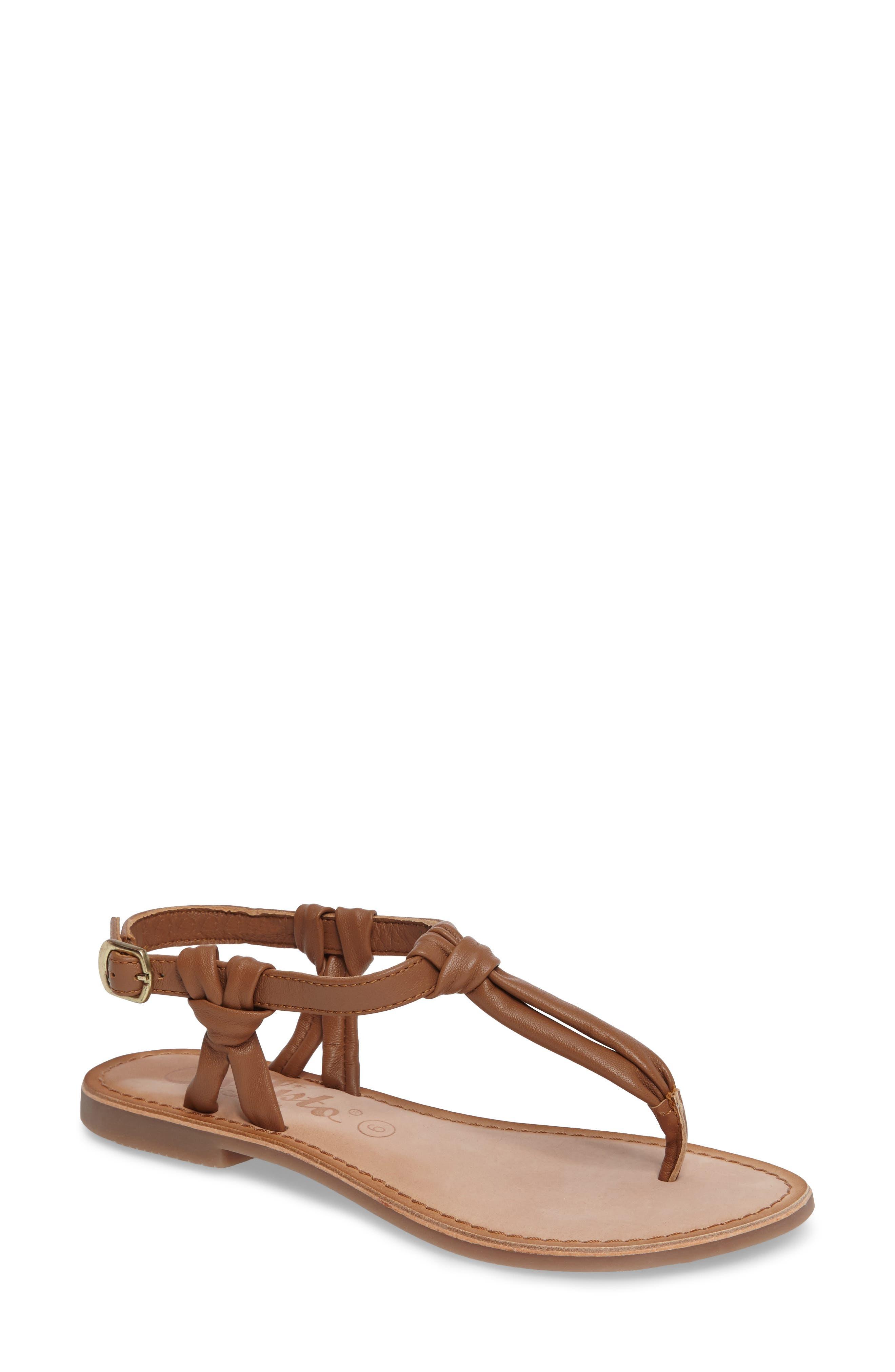 Azza T-Strap Sandal,                         Main,                         color, TAN LEATHER