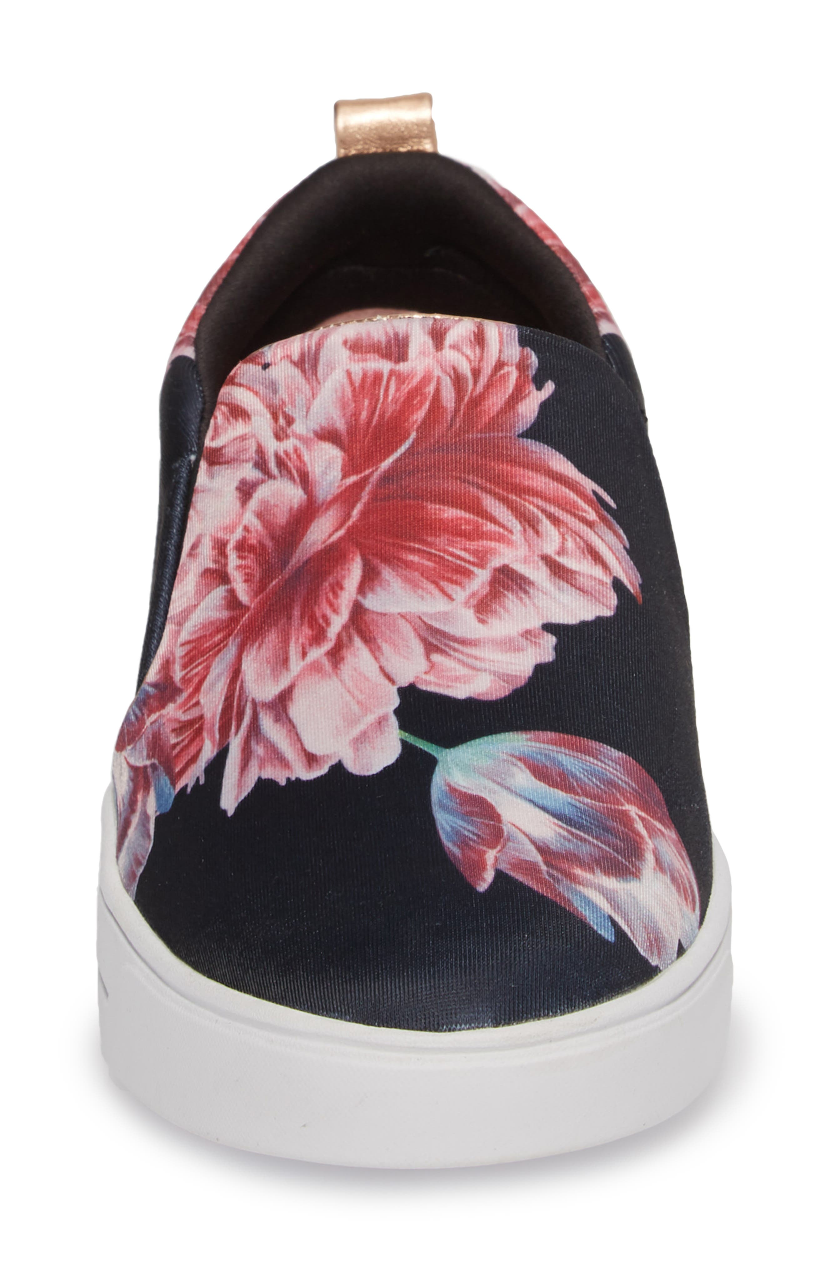 Tancey Slip-On Sneaker,                             Alternate thumbnail 4, color,                             BLACK TRANQUILITY FABRIC