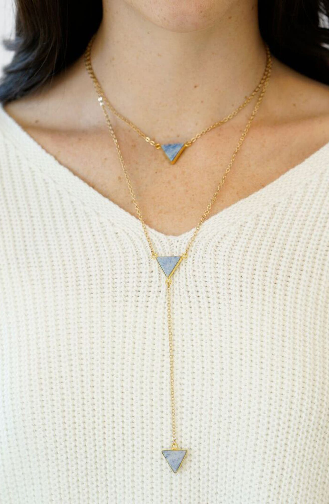 Semiprecious Stone Layered Y-Necklace,                             Alternate thumbnail 2, color,