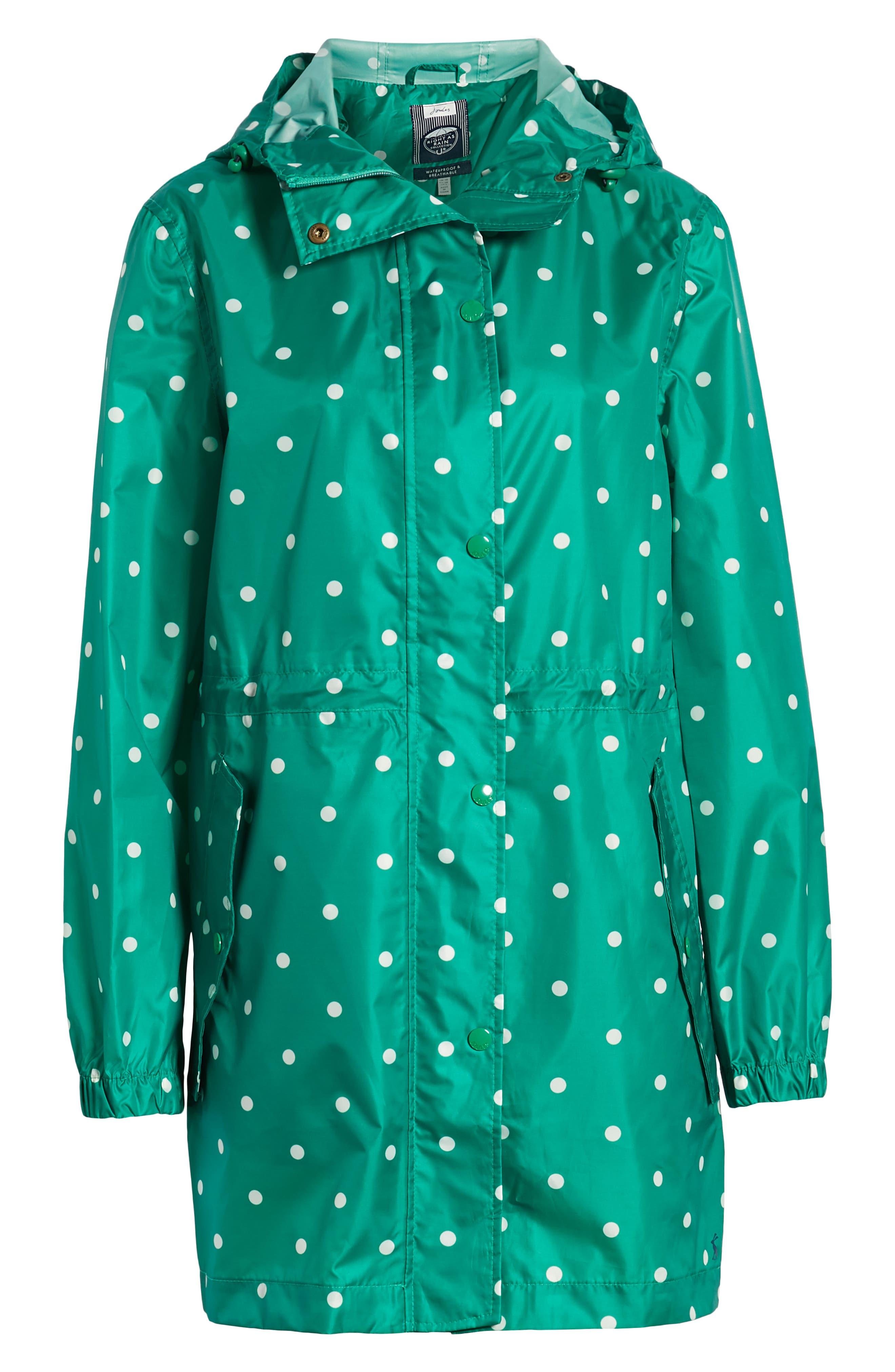 Go Lightly Waterproof Pack Away Hooded Jacket,                             Alternate thumbnail 6, color,                             GREEN SPOT