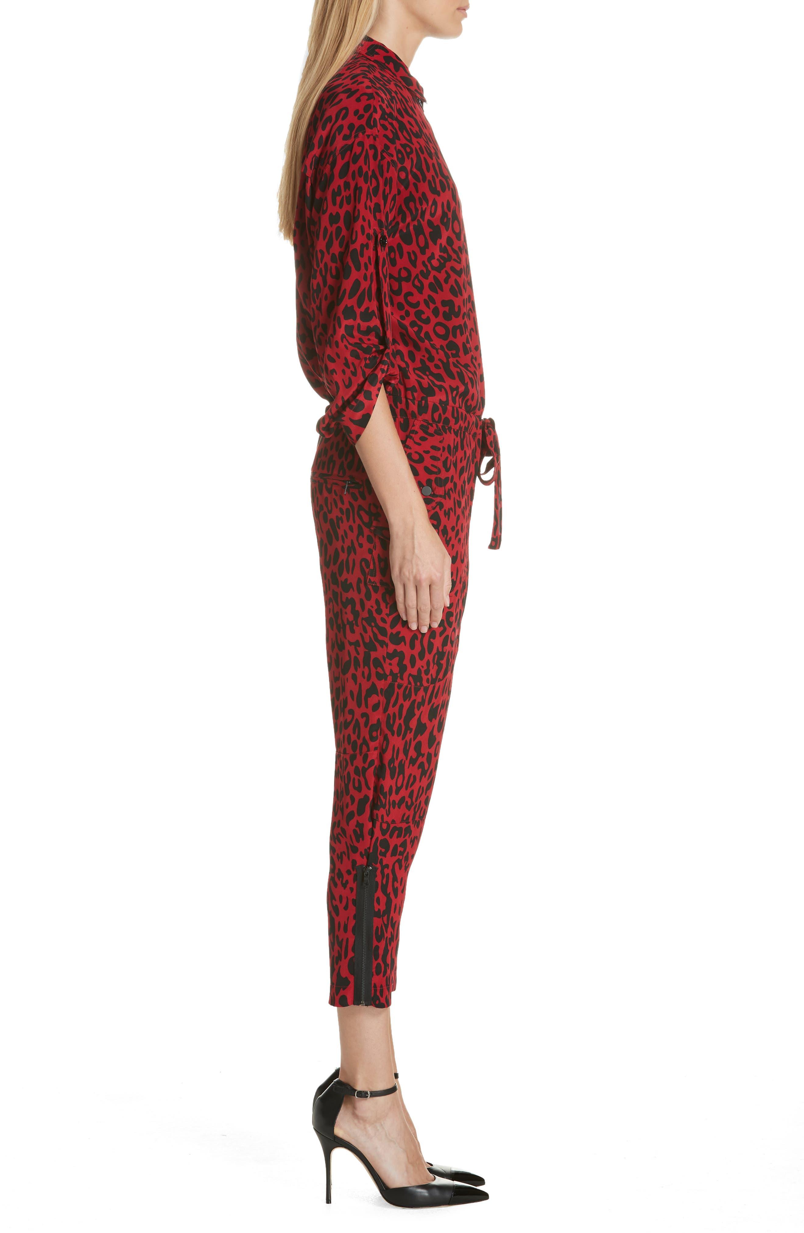 Leopard Print Crop Jumpsuit,                             Alternate thumbnail 3, color,                             600