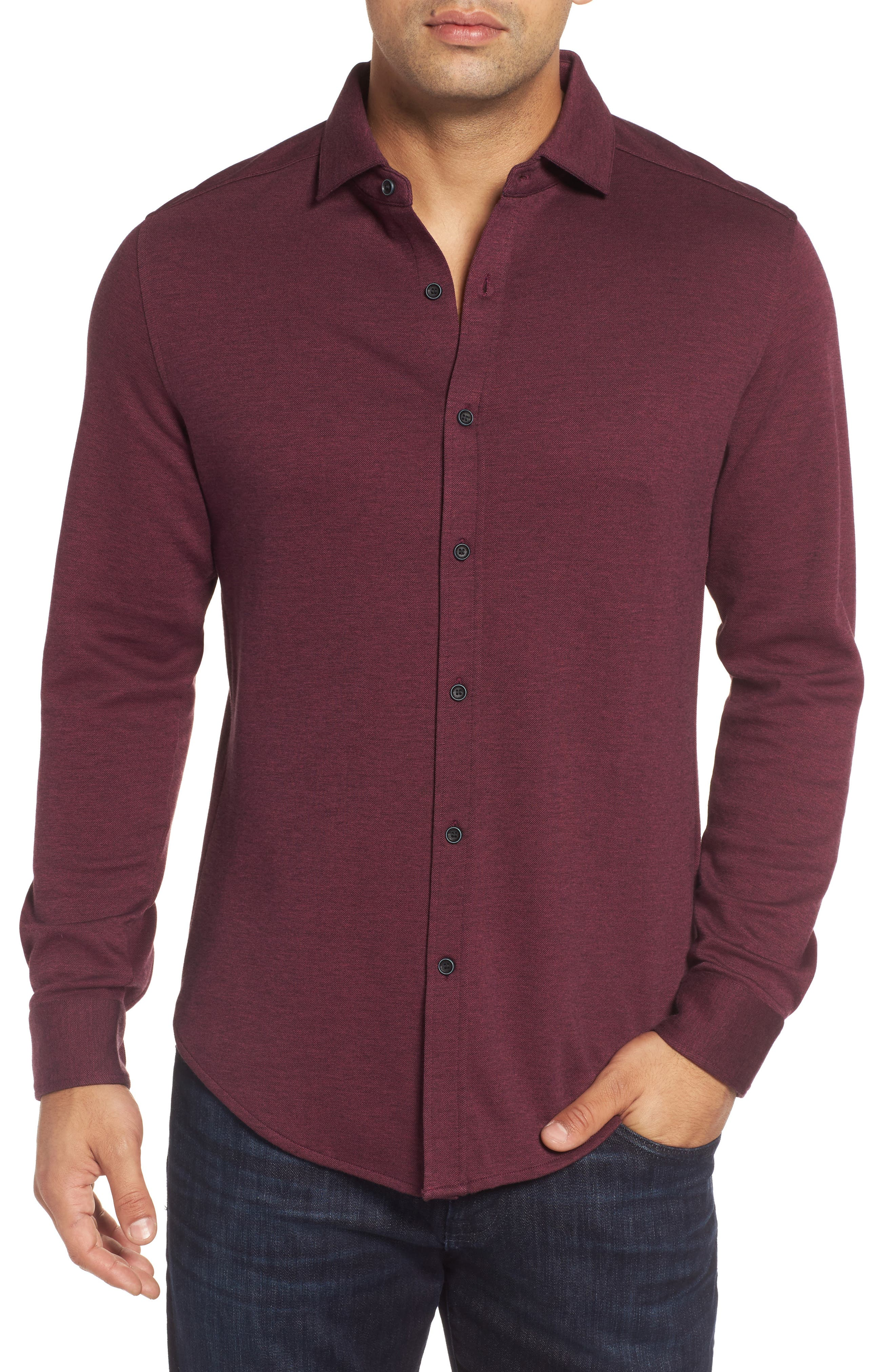 Classic Fit Heathered Knit Sport Shirt,                             Main thumbnail 3, color,