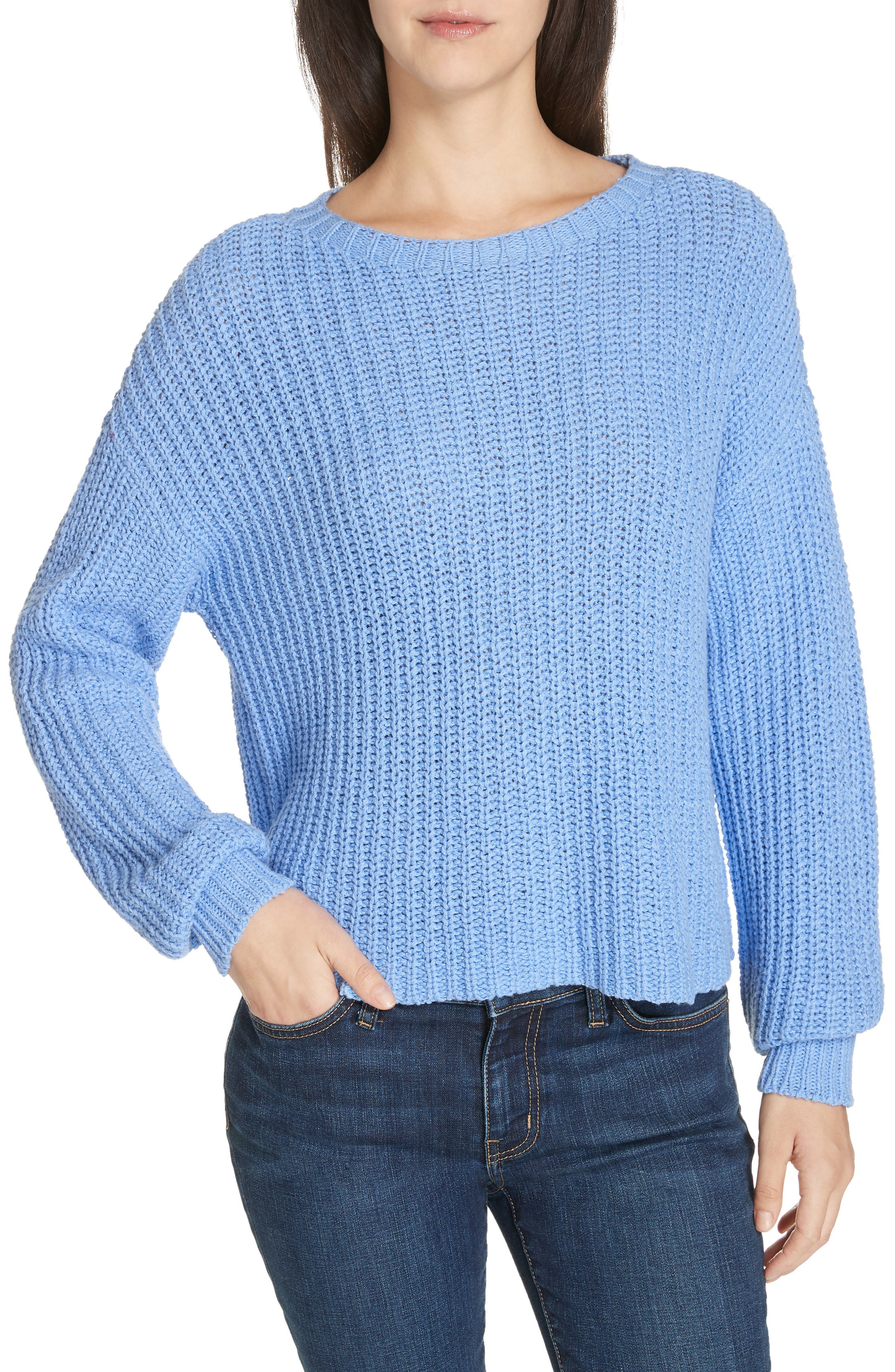 EILEEN FISHER,                             Crewneck Crop Shaker Sweater,                             Main thumbnail 1, color,                             BLUEBIRD