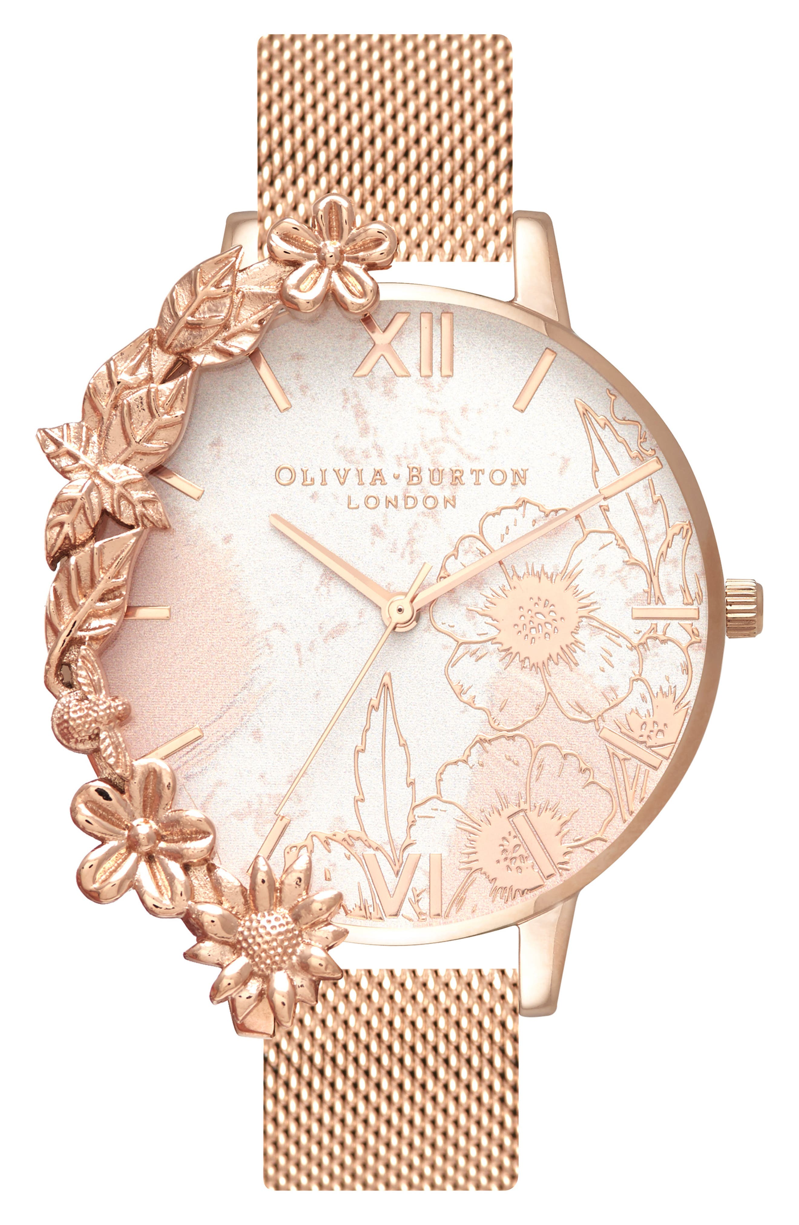 Case Cuff Mesh Strap Watch, 38mm,                         Main,                         color, ROSE GOLD/ FLORAL/ ROSE GOLD