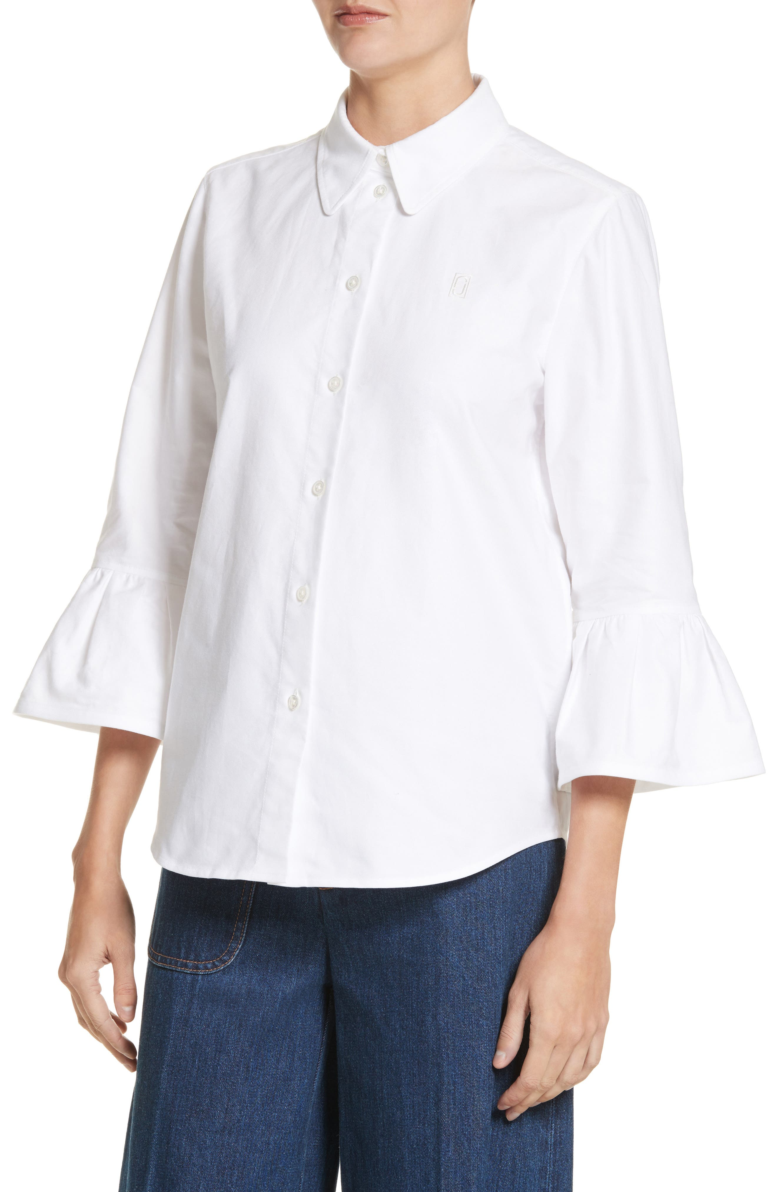 Bell Sleeve Cotton Top,                             Alternate thumbnail 4, color,                             100