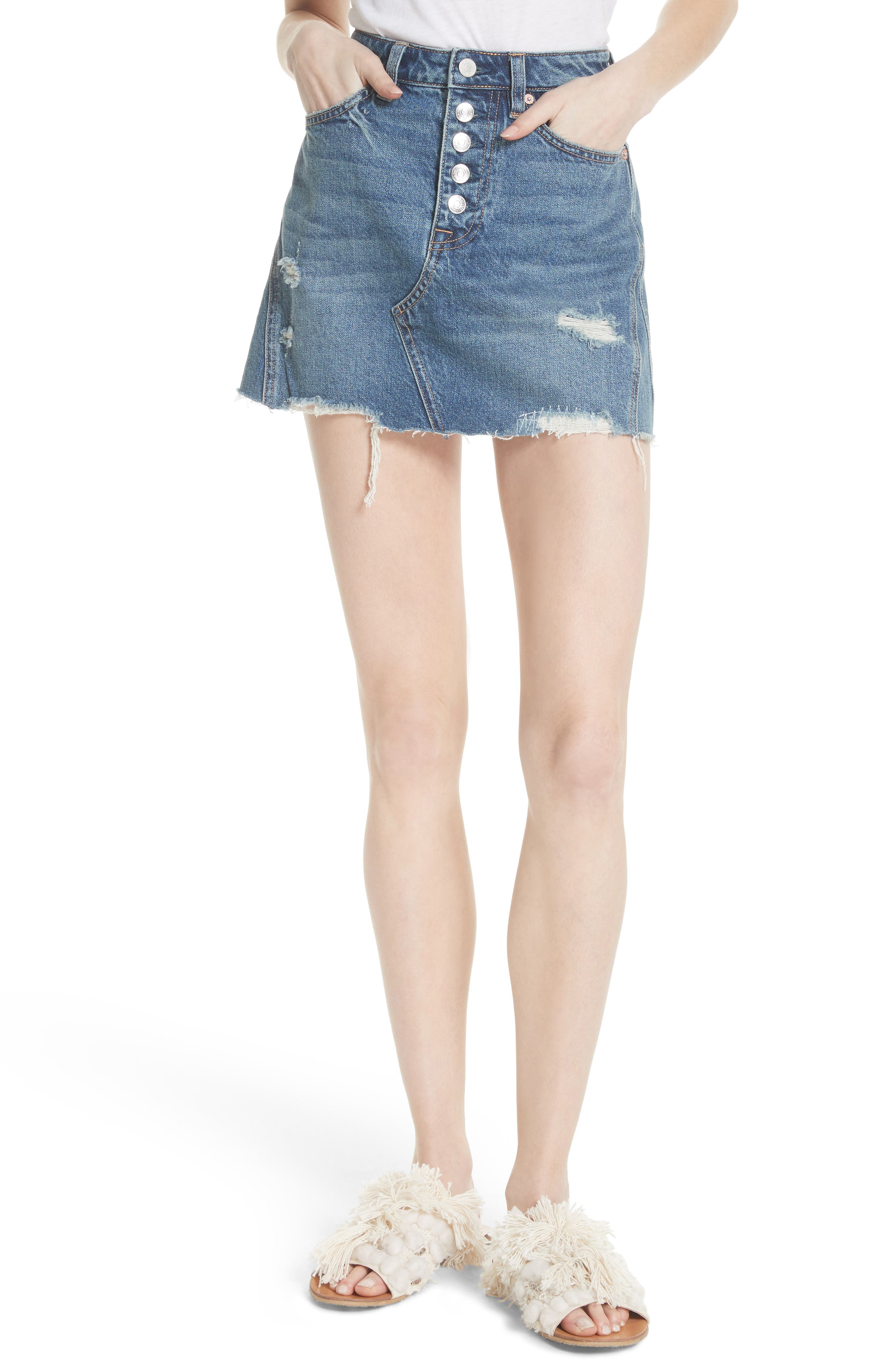We the Free by Free People A-Line Denim Skirt,                             Main thumbnail 1, color,                             BLUE