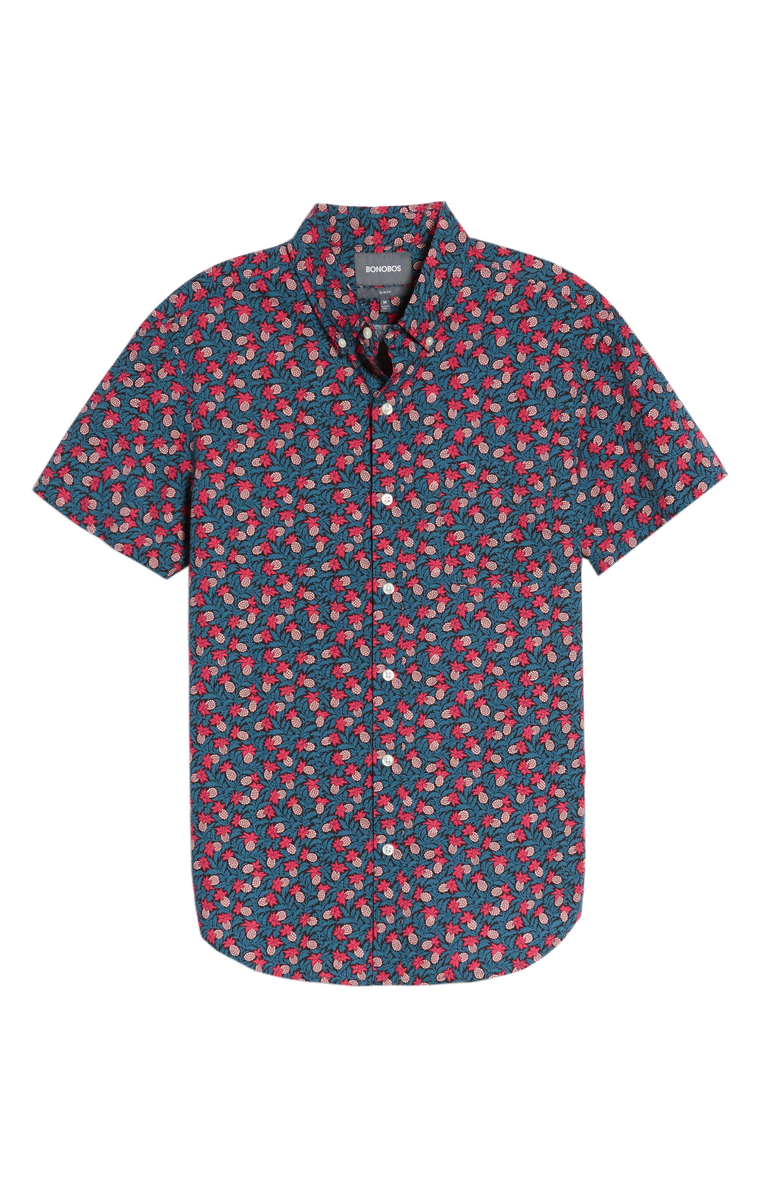 Slim Fit Short Sleeve Print Sport Shirt,                             Alternate thumbnail 6, color,                             400