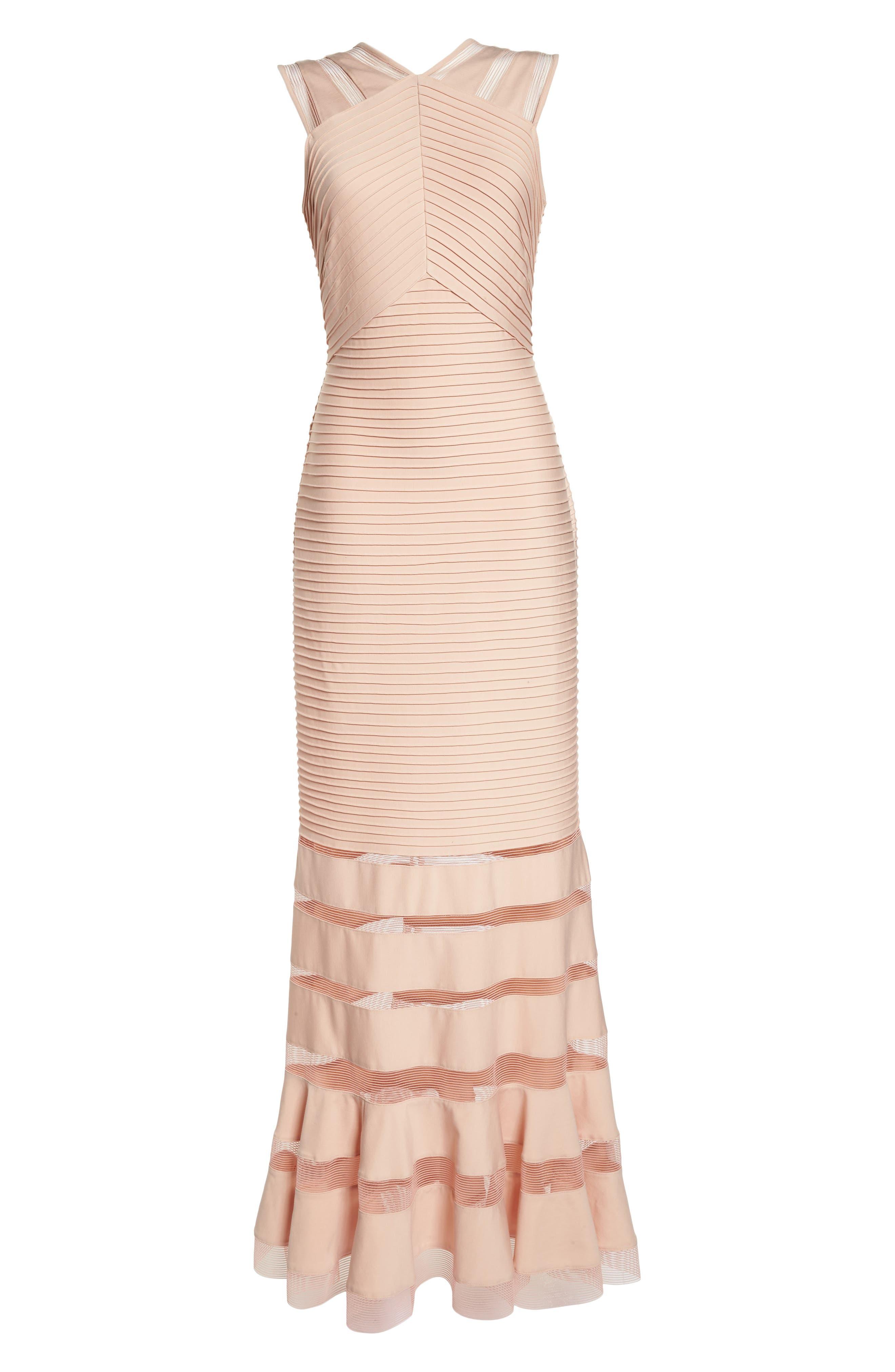 Mesh Inset Pintuck Dress,                             Alternate thumbnail 6, color,                             PETAL/ BLOOM