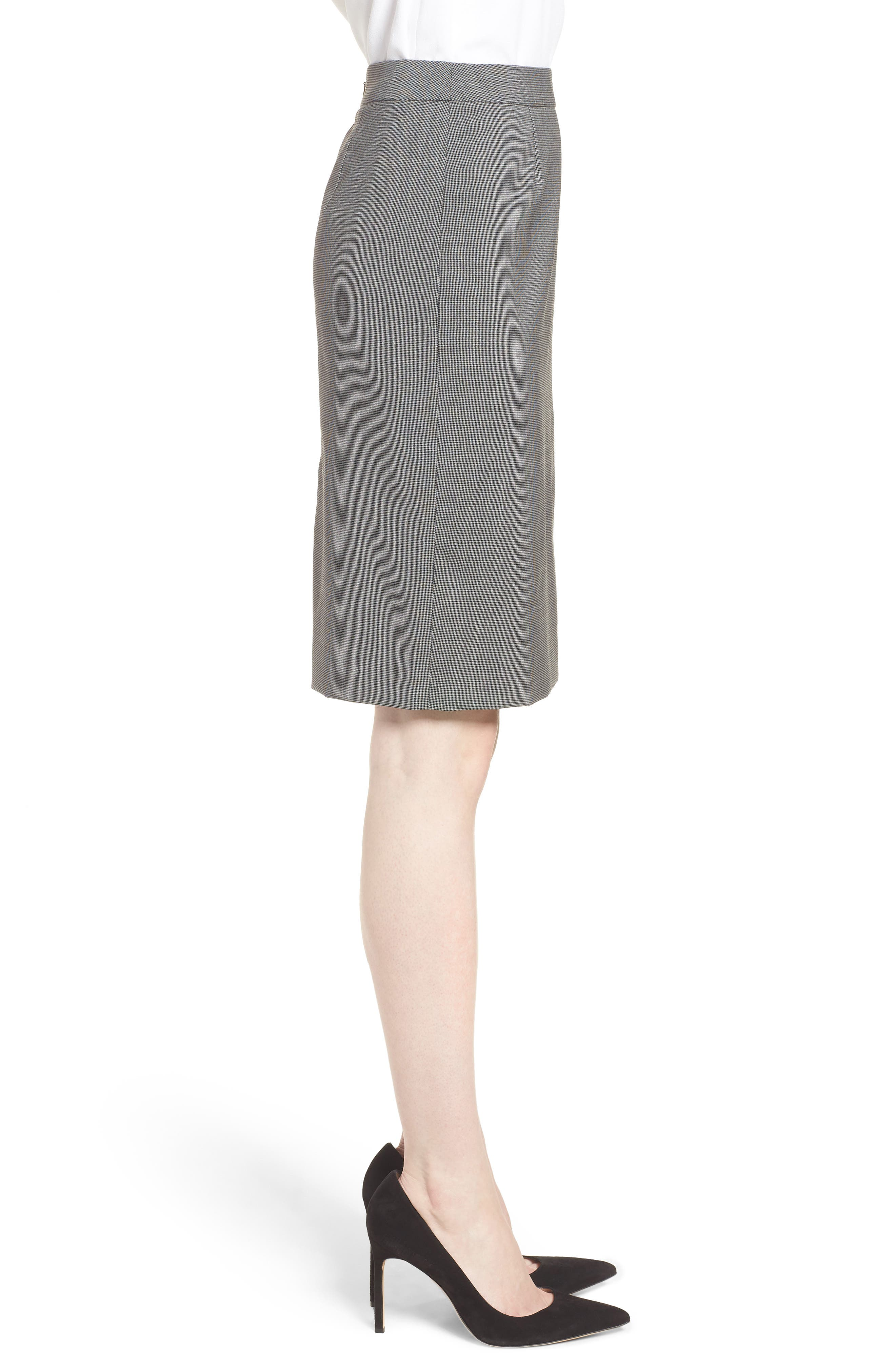 Vimena Mini Houndstooth Stretch Wool Pencil Skirt,                             Alternate thumbnail 3, color,                             060