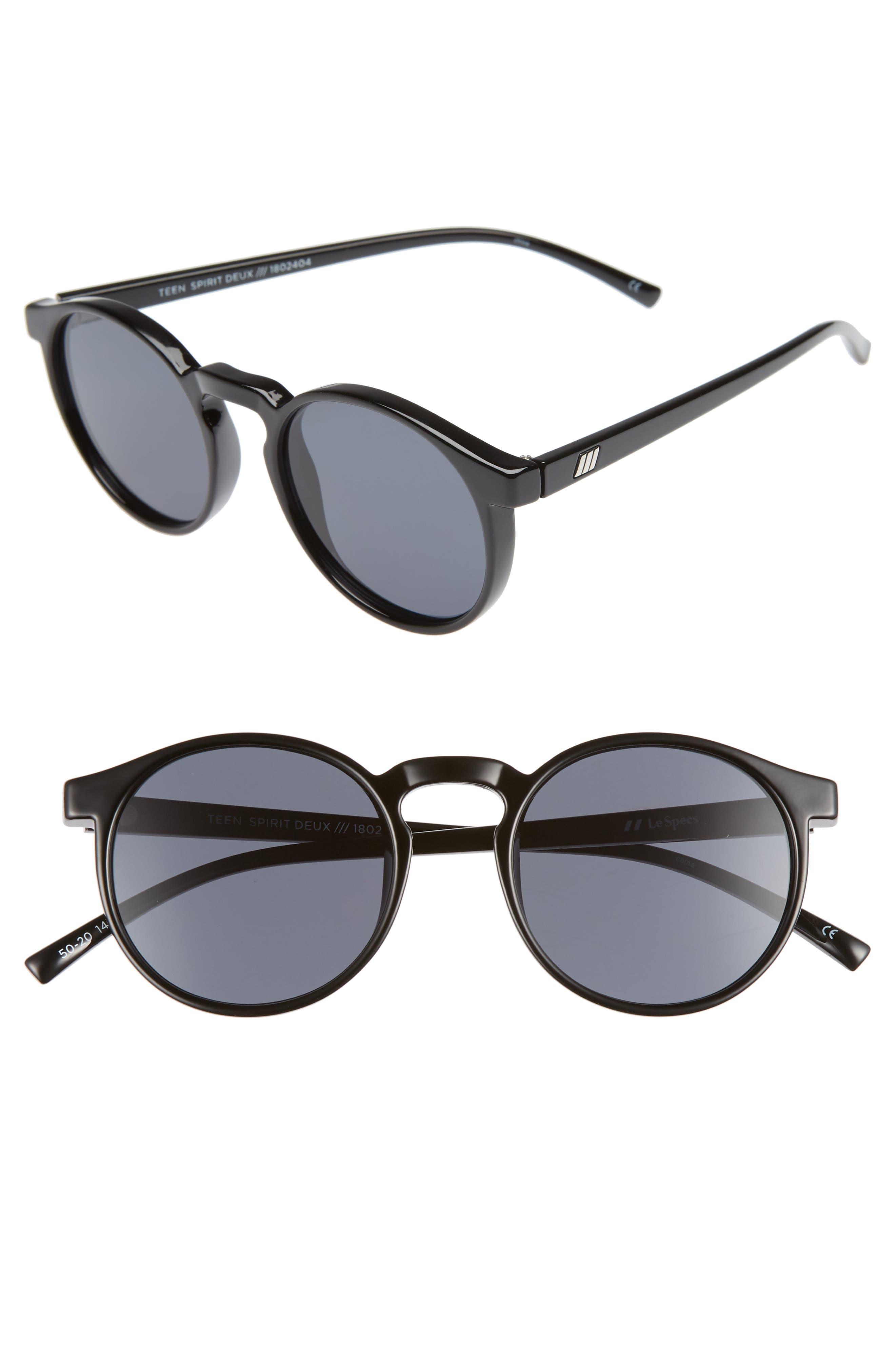 Le Specs Teen Spirit Deaux 50Mm Round Sunglasses - Black