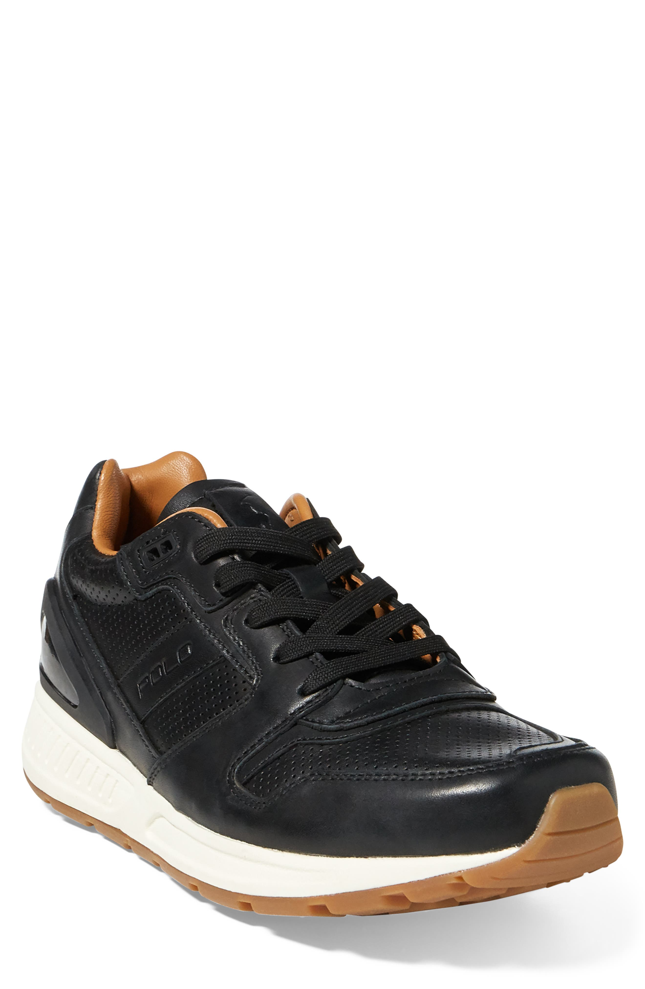 Train 100 Sneaker,                         Main,                         color, BLACK LEATHER
