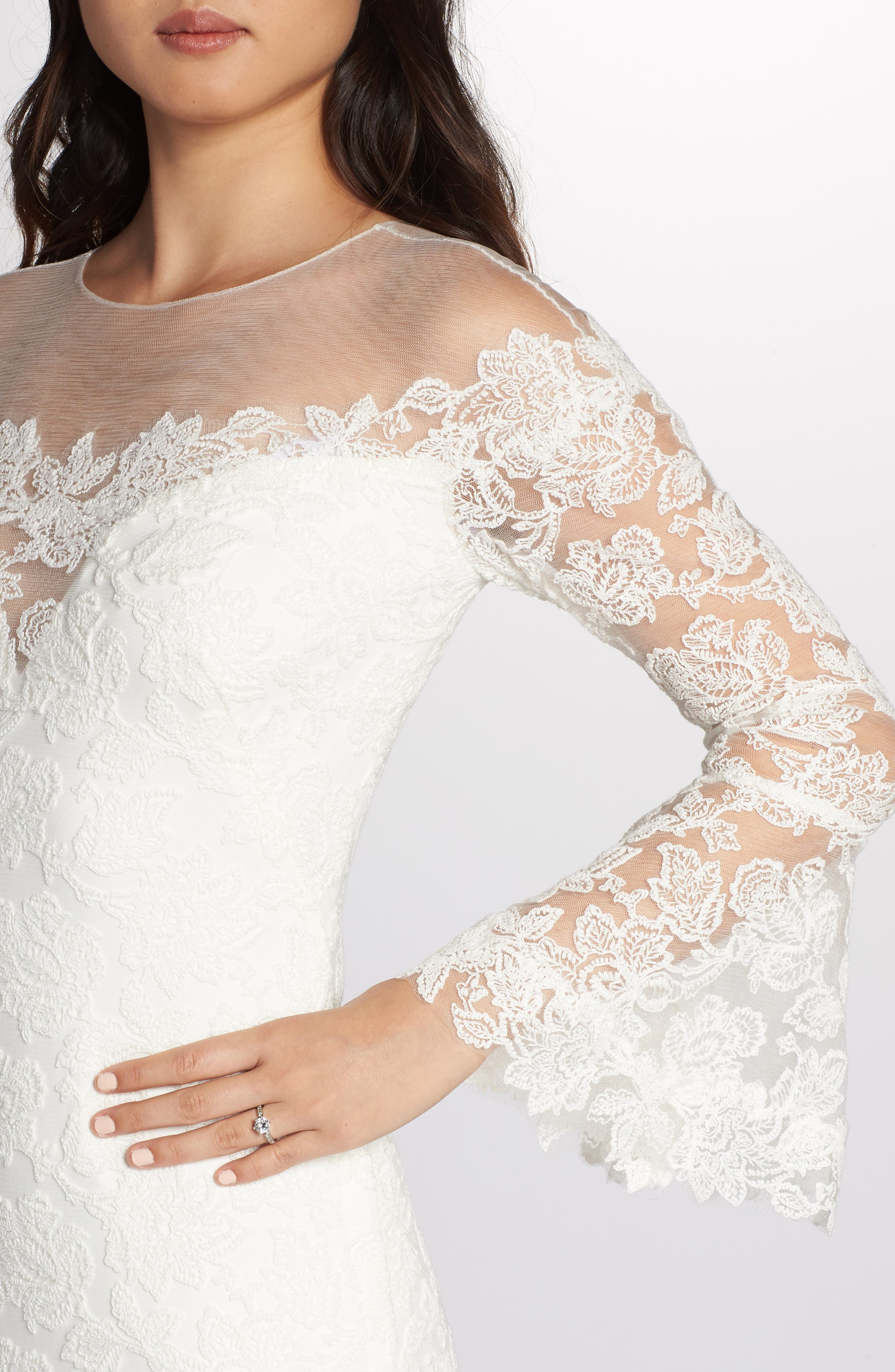 Bell Sleeve Lace Gown,                             Alternate thumbnail 4, color,                             IVORY