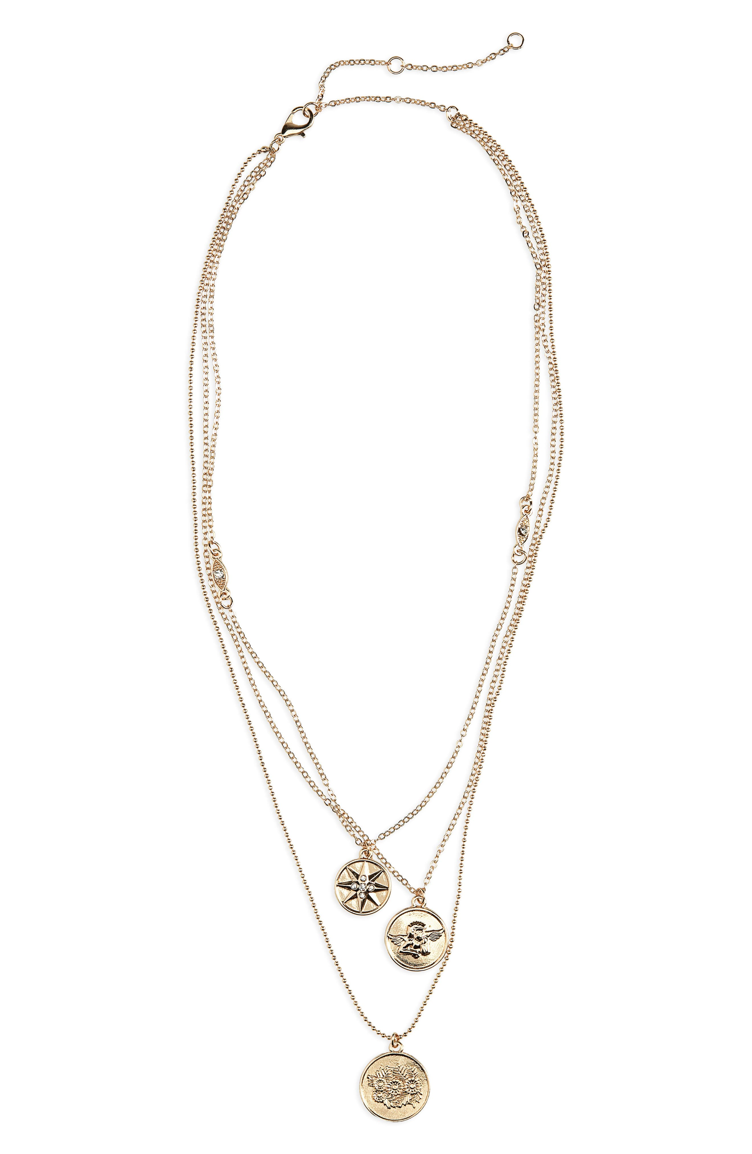 Three-Layer Charm Necklace,                         Main,                         color, 710