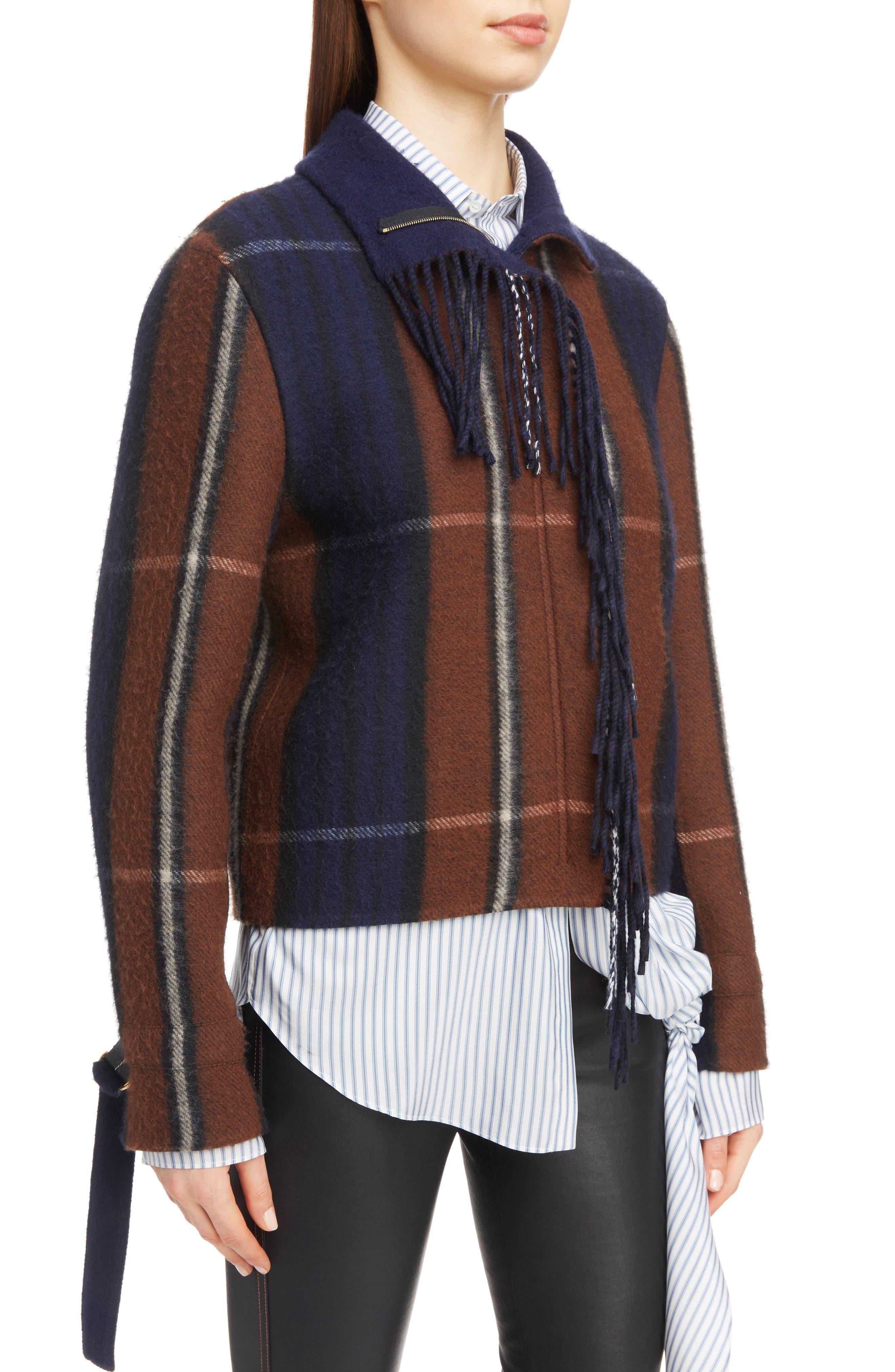 Plaid Fringe Trim Wool & Cashmere Jacket,                             Alternate thumbnail 4, color,                             467