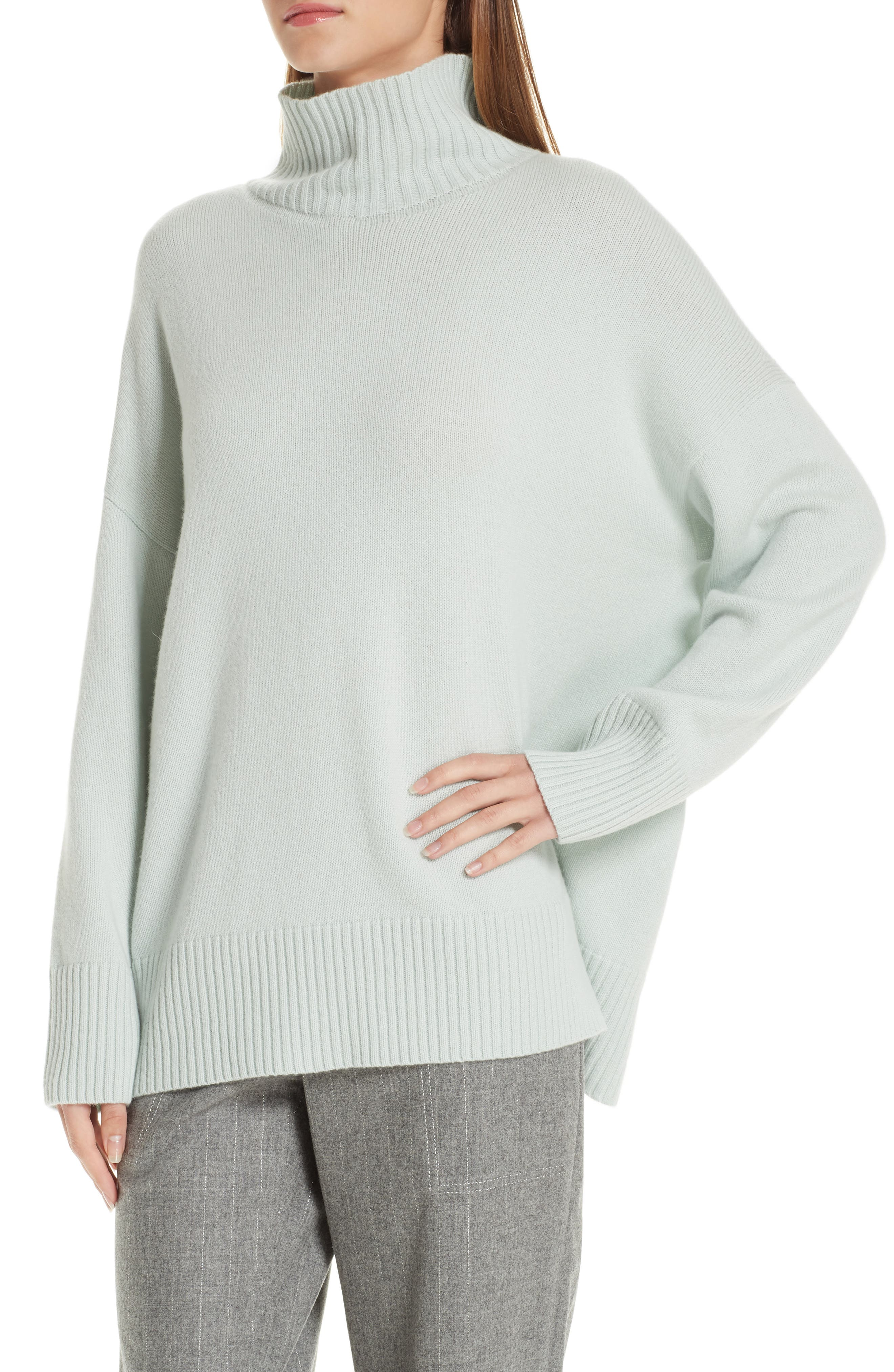 LAFAYETTE 148 NEW YORK,                             Relaxed Cashmere Turtleneck Sweater,                             Alternate thumbnail 4, color,                             400