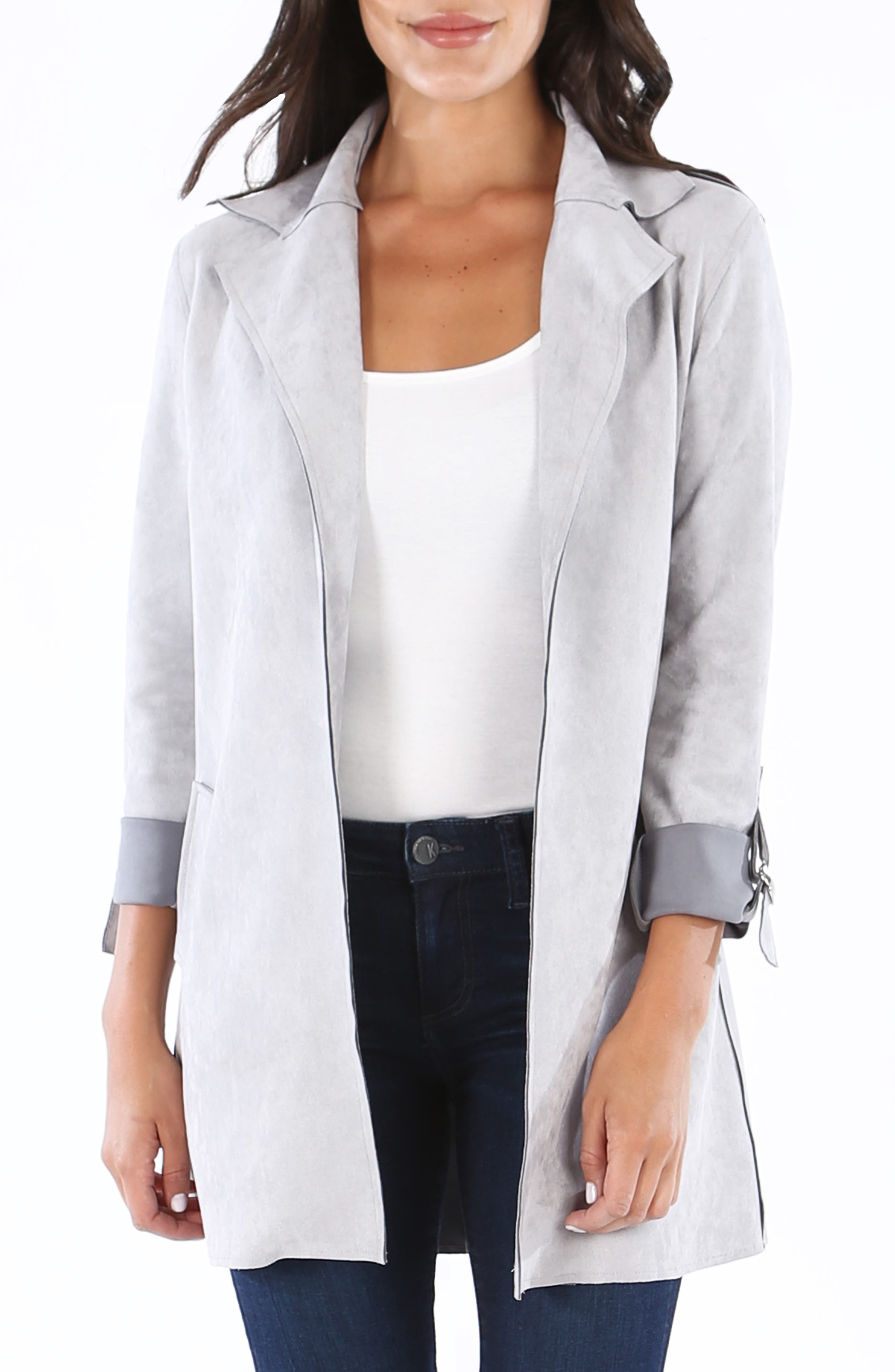 KUT FROM THE KLOTH Faye Long Jacket, Main, color, SILVER