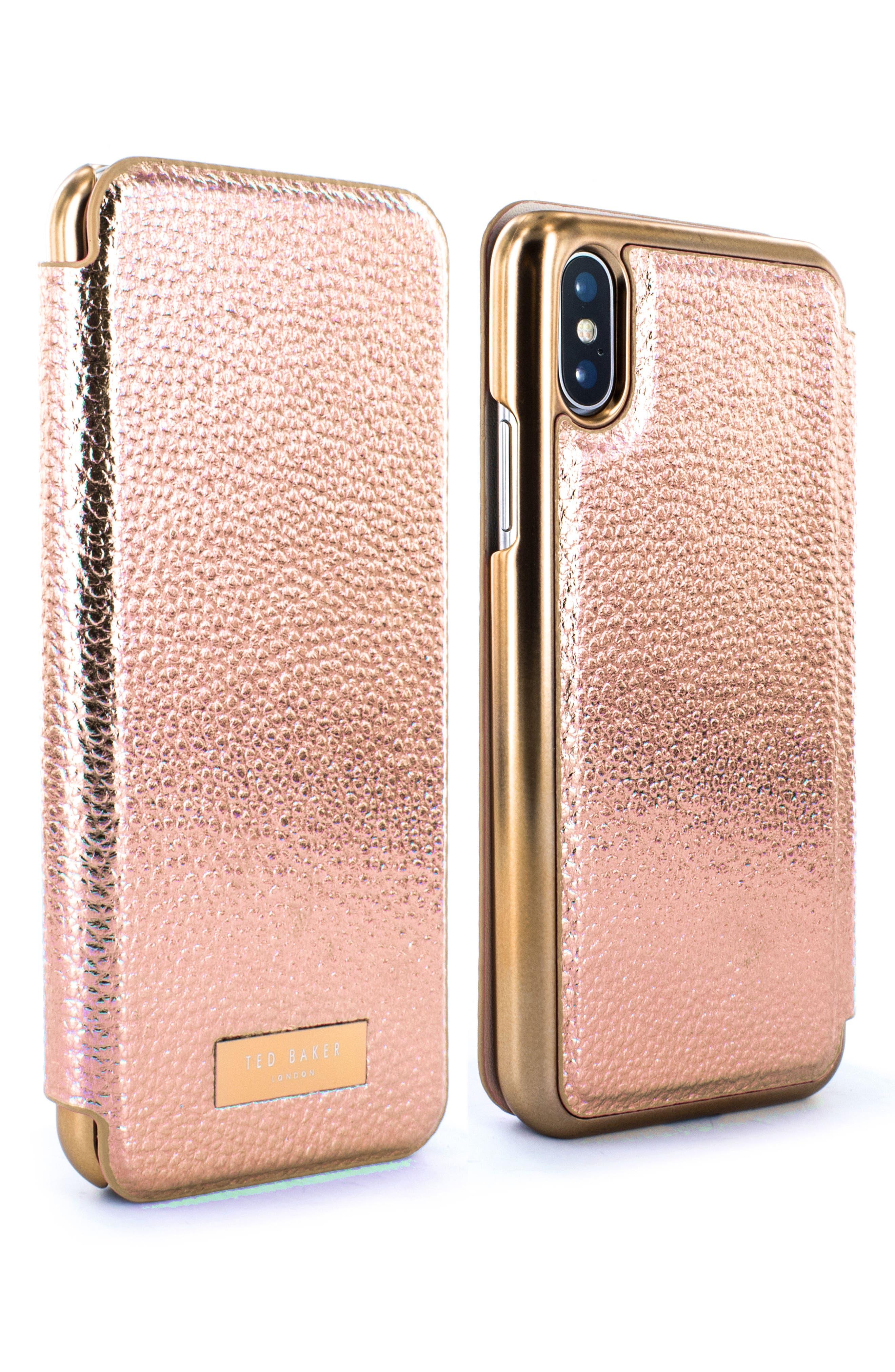 Fenela Faux Leather iPhone X & Xs Mirror Folio Case,                             Alternate thumbnail 3, color,                             ROSE GOLD