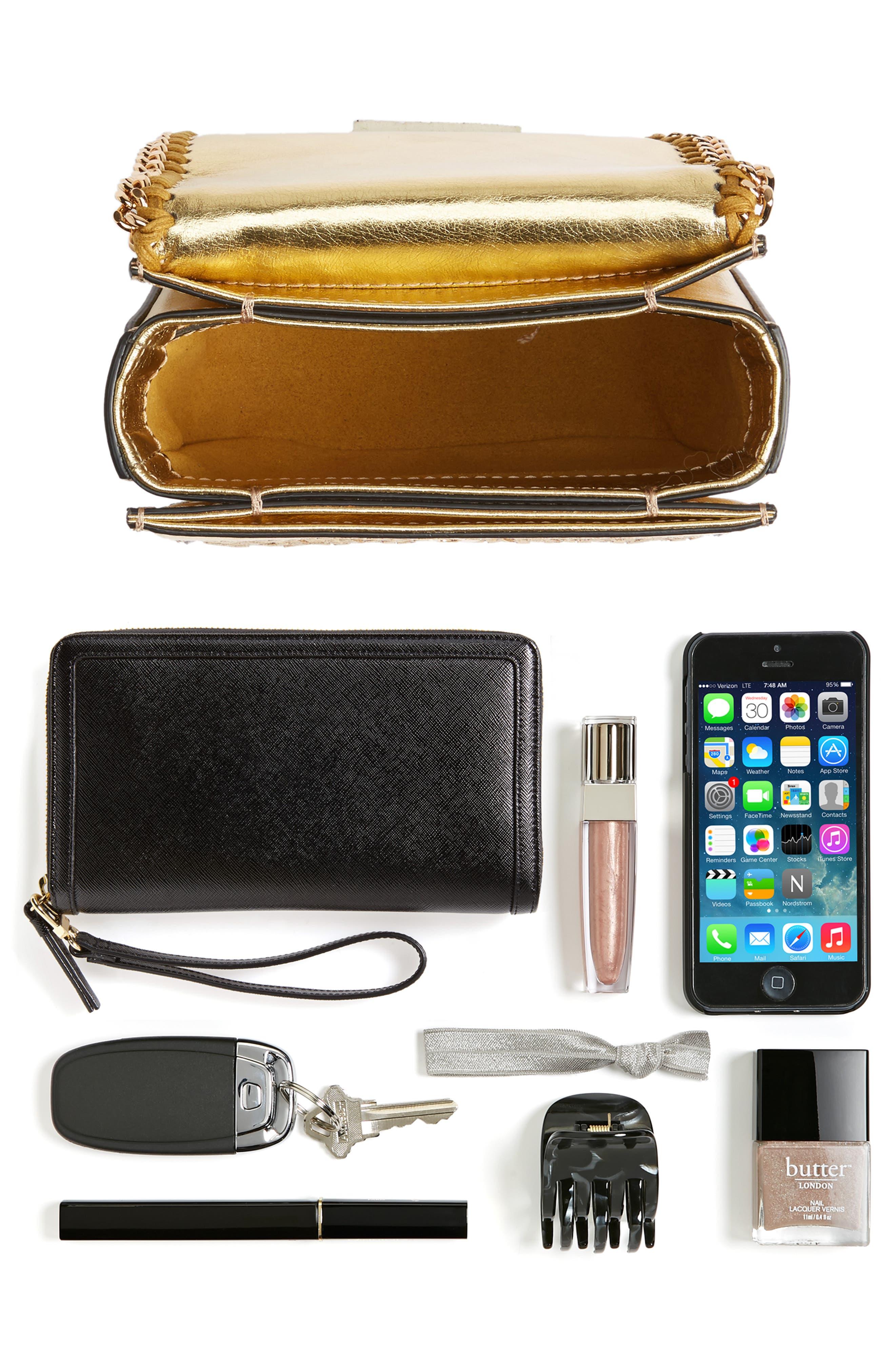 Falabella Box Woven Metallic Faux Leather Shoulder Bag,                             Alternate thumbnail 7, color,