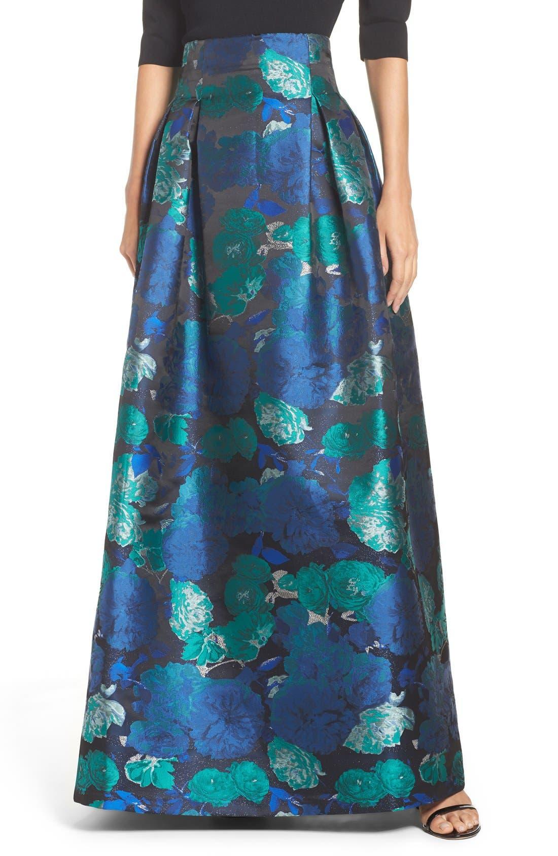 Floral Jacquard Ball Skirt,                             Alternate thumbnail 4, color,                             442