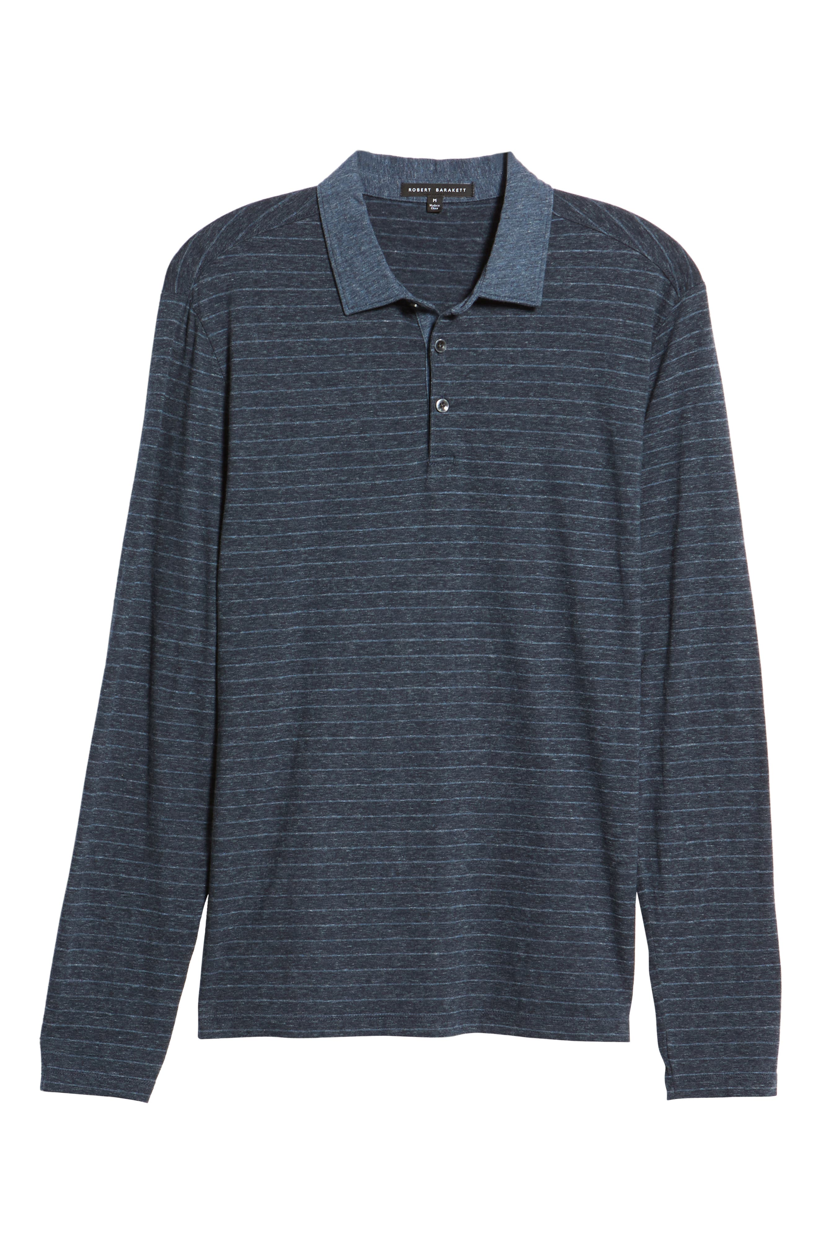Wellington Regular Fit Long Sleeve Polo,                             Alternate thumbnail 6, color,                             NAVY