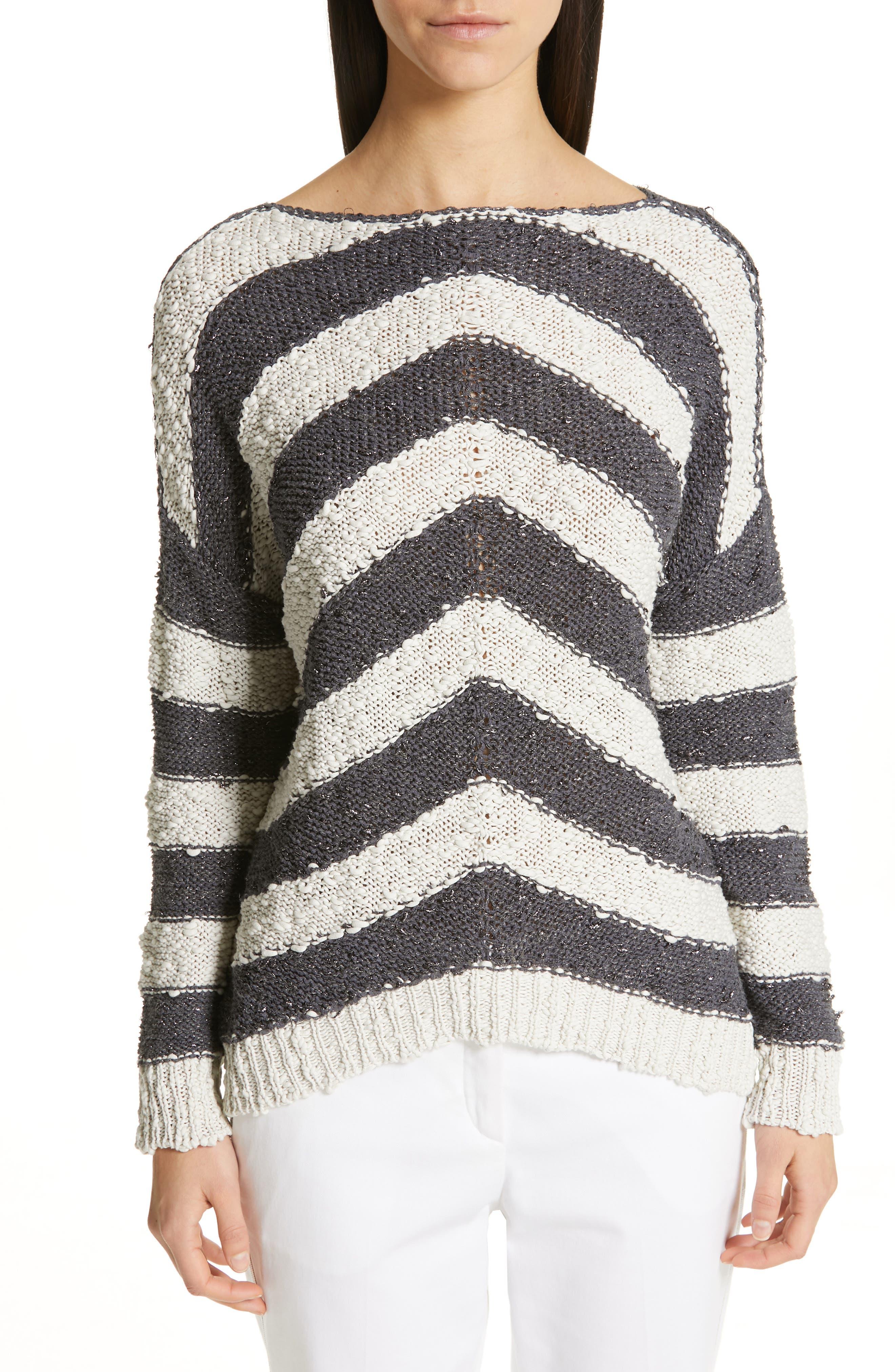 Stripe Knit Sweater, Main, color, SLATE/ WHITE