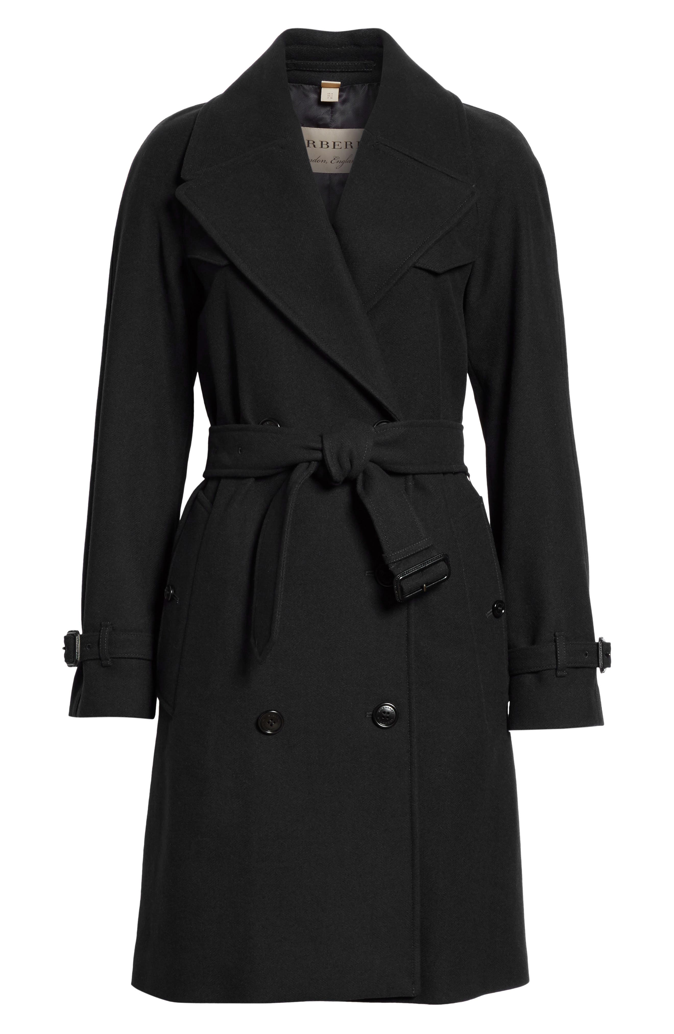 BURBERRY,                             Cranston Wool Blend Trench Coat,                             Alternate thumbnail 5, color,                             001