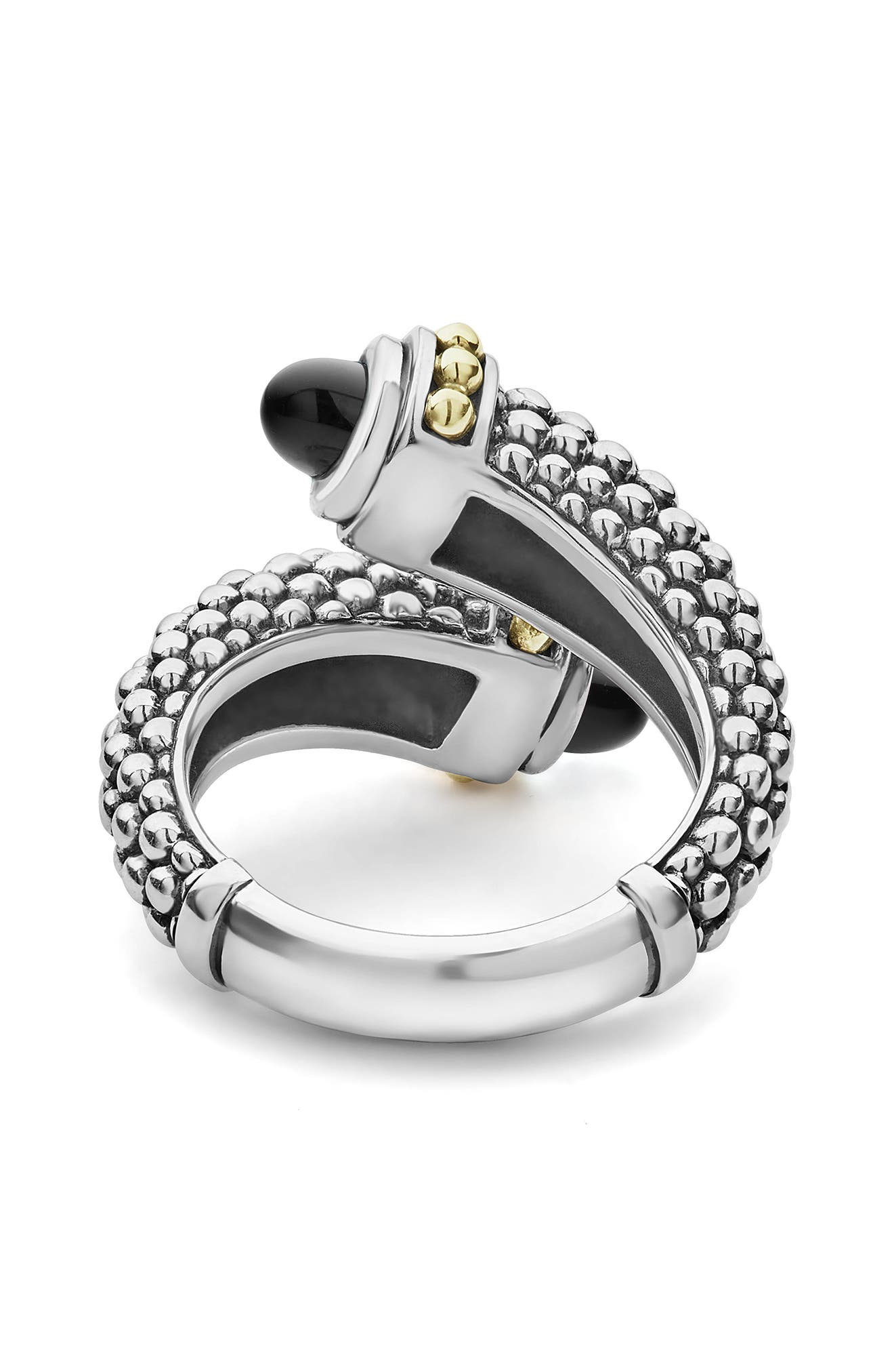 Signature Caviar Crossover Ring,                             Alternate thumbnail 4, color,                             SILVER/ BLACK ONYX