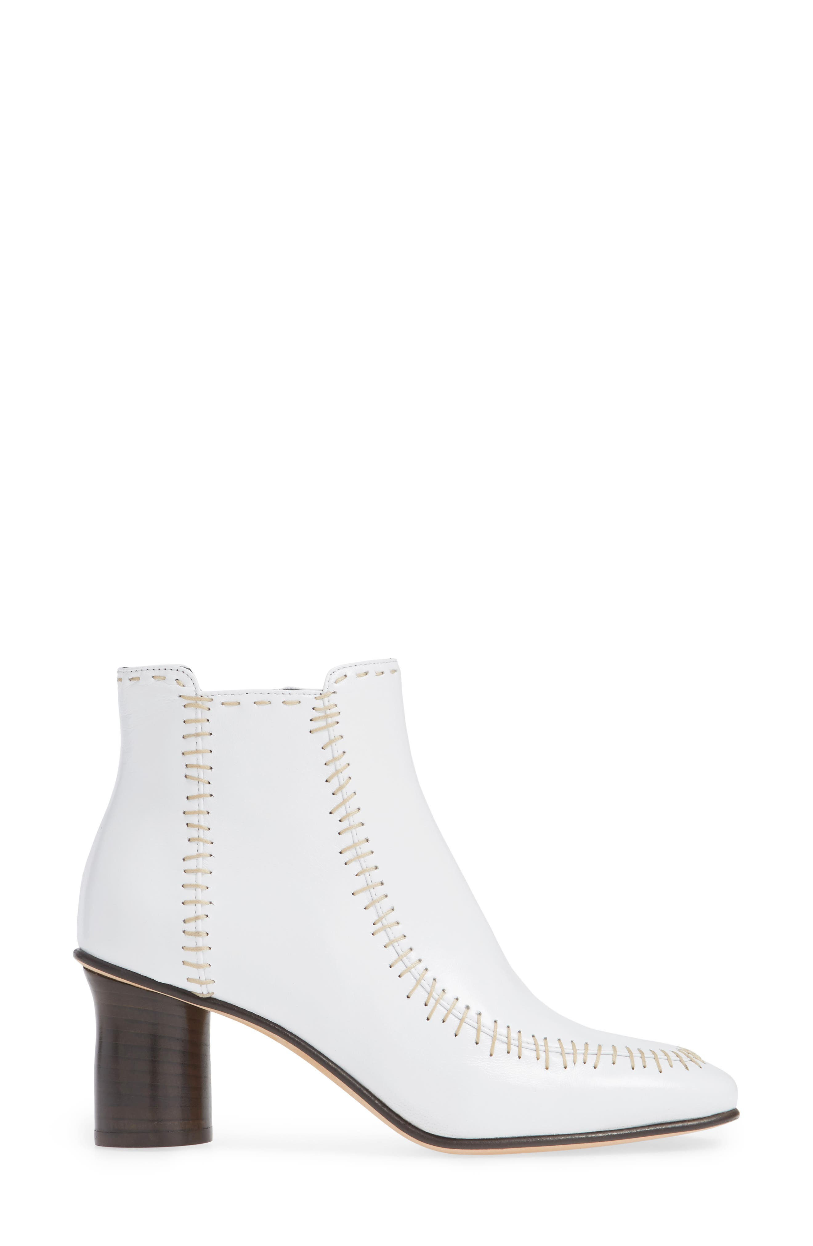 Stitch Leather Bootie,                             Alternate thumbnail 3, color,                             WHITE