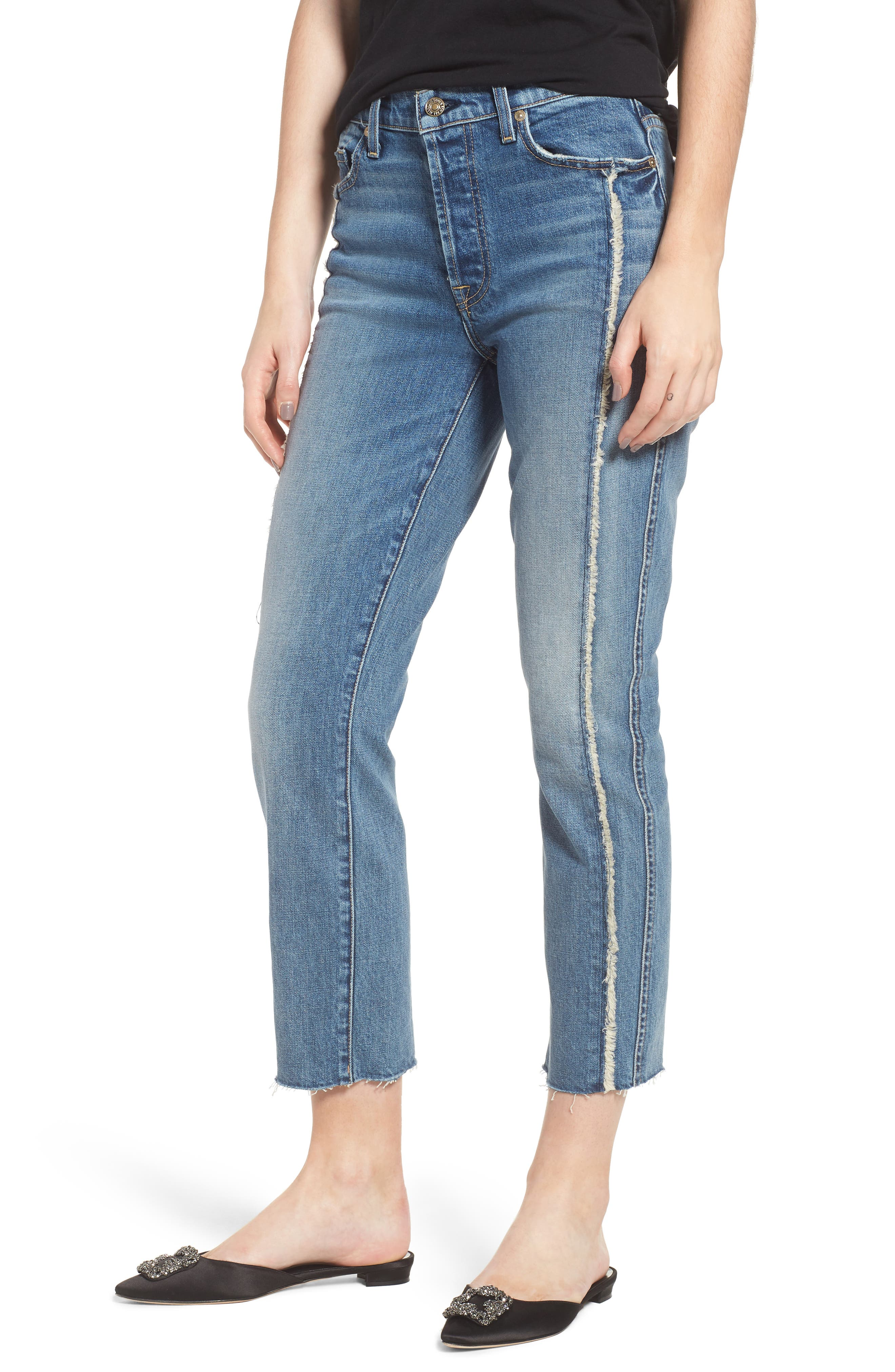 Edie Fray Seams Crop Straight Leg Jeans,                         Main,                         color, 400