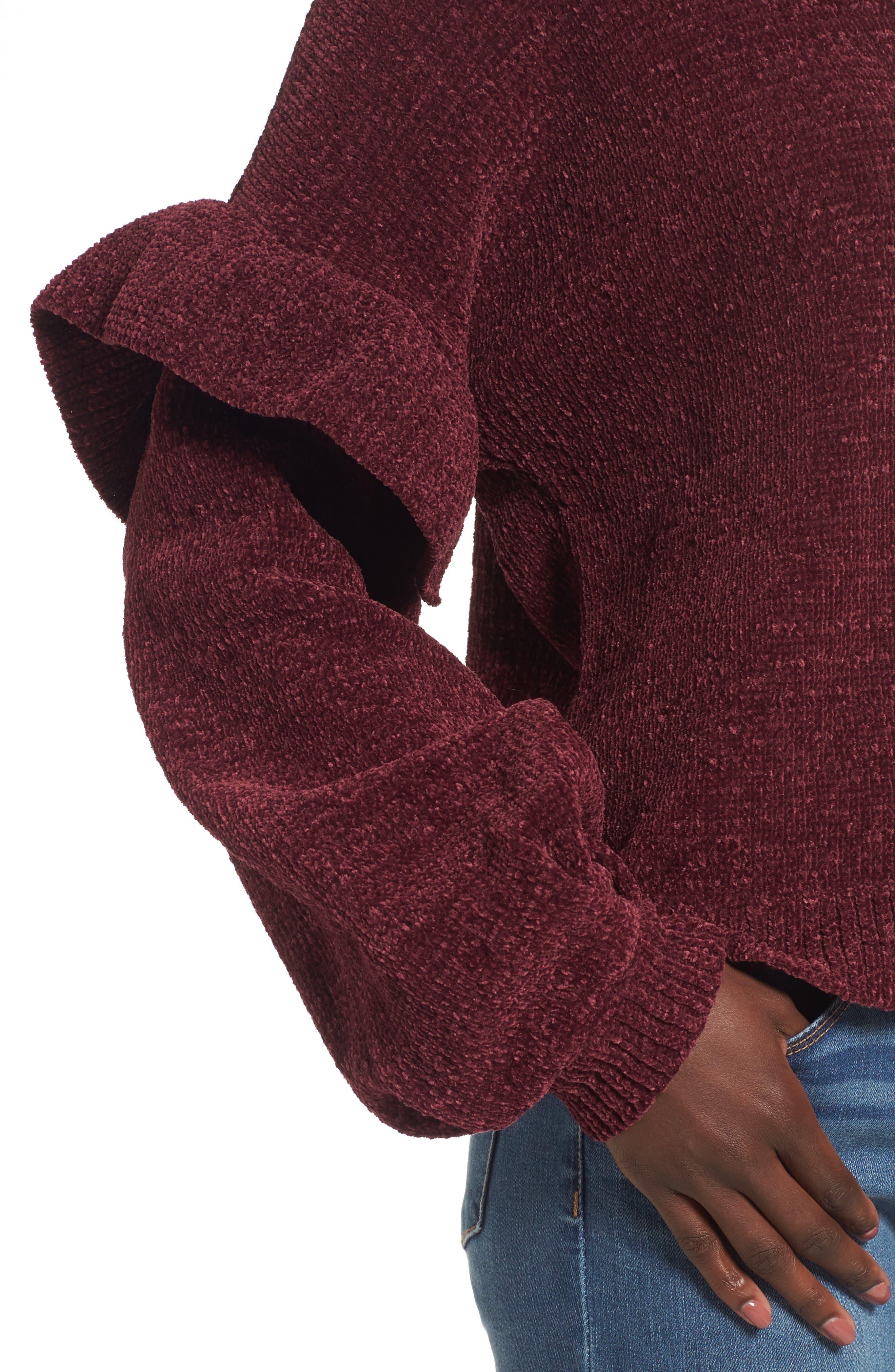 Ruffle Chenille Sweater,                             Alternate thumbnail 8, color,