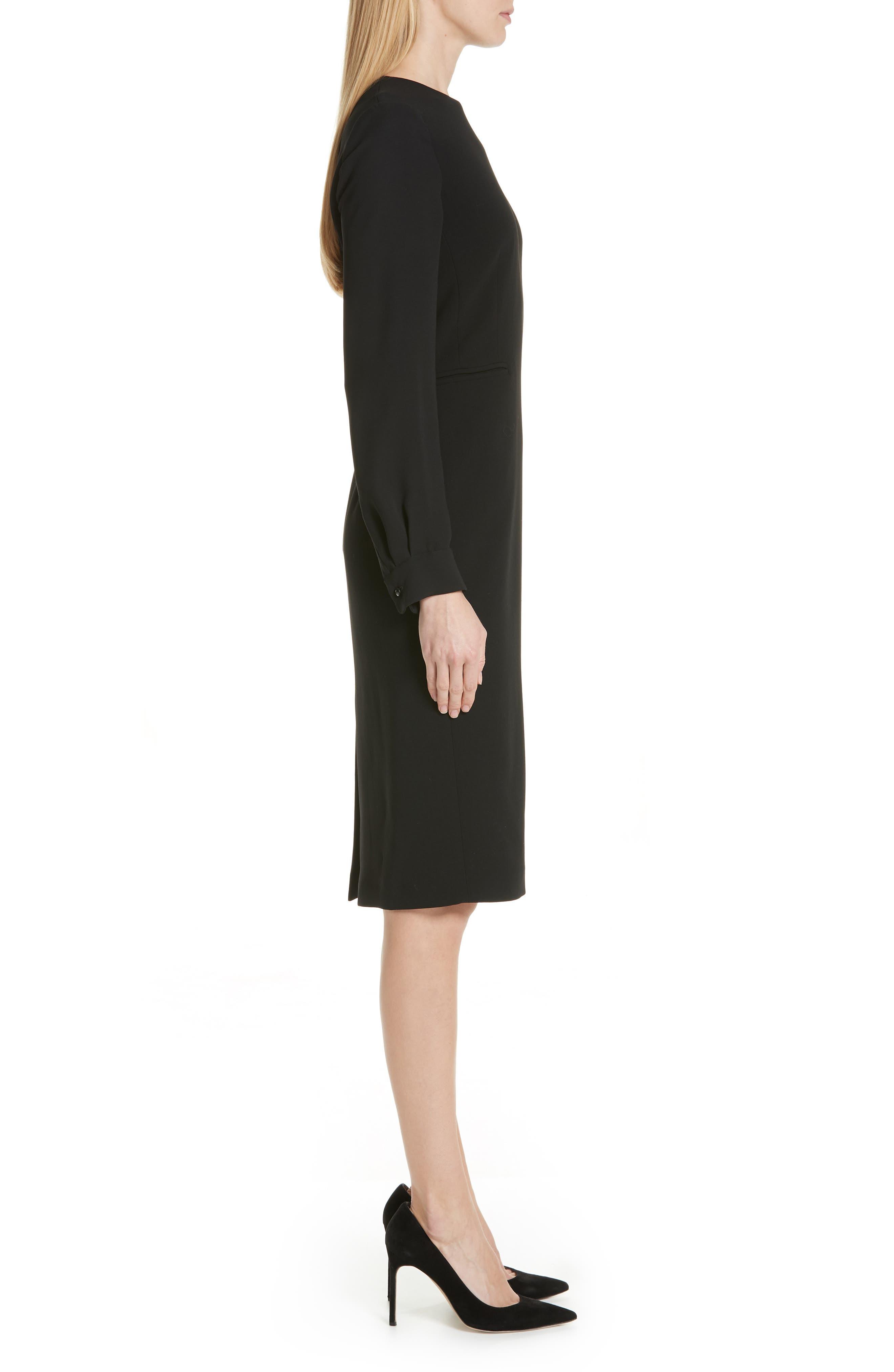 Ottelia Stretch Wool Sheath Dress,                             Alternate thumbnail 3, color,                             BLACK