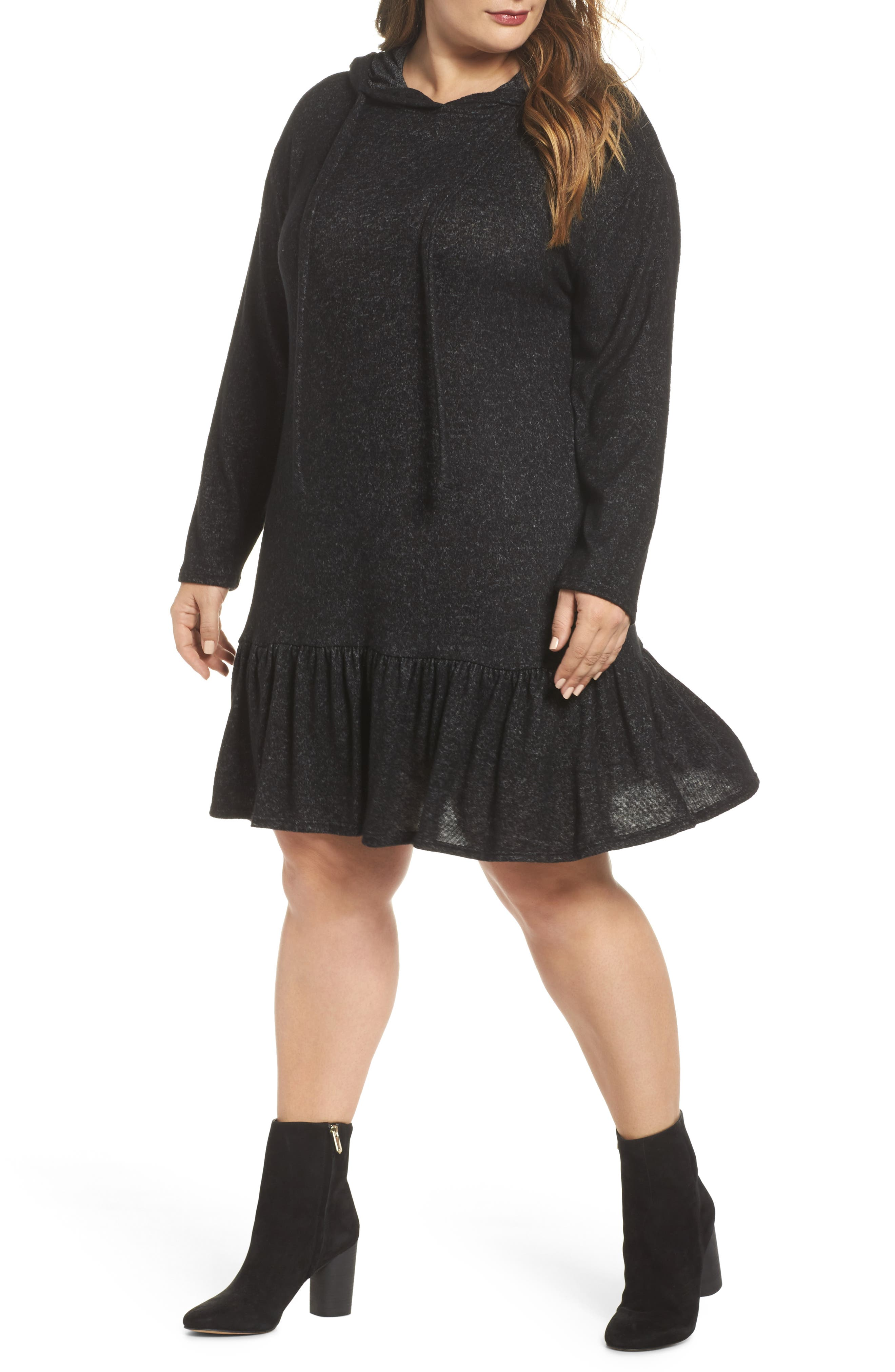 Peplum Hem Hoodie Dress,                             Main thumbnail 1, color,                             001