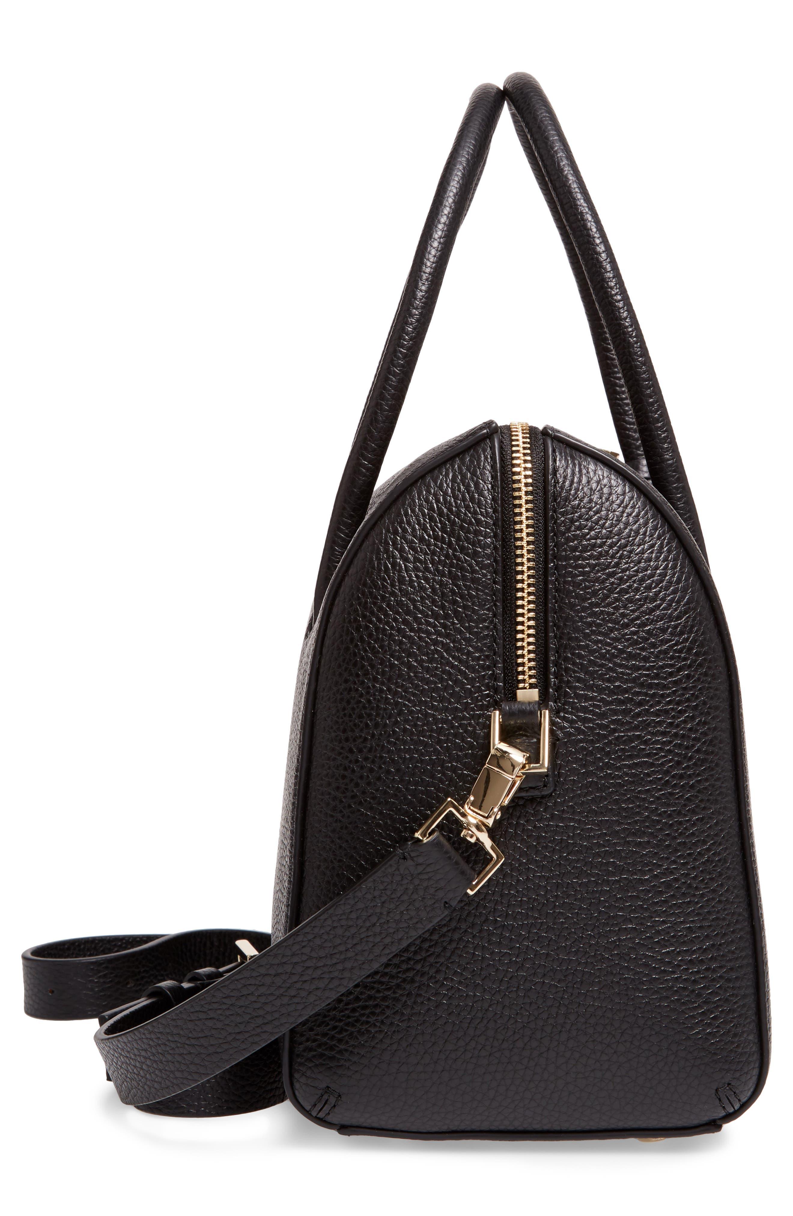 mega madison knollwood drive - lane leather satchel,                             Alternate thumbnail 5, color,                             001